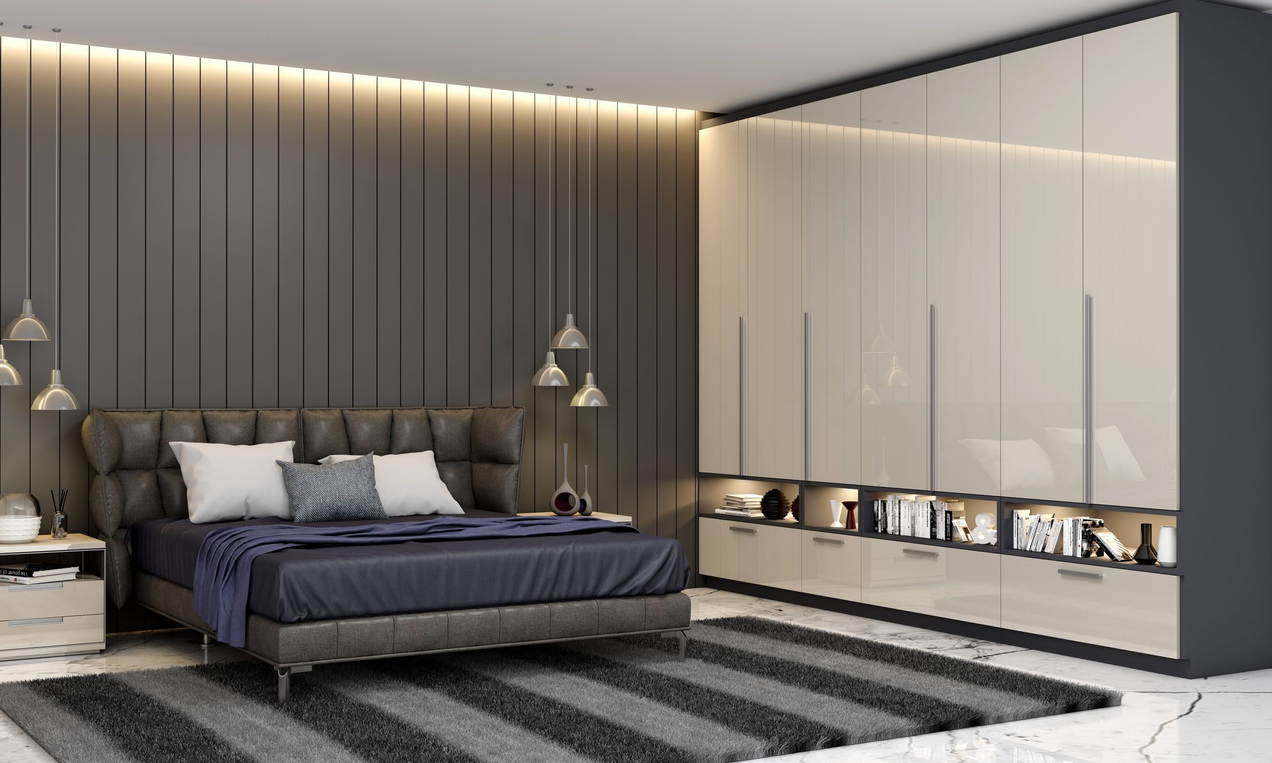 Contemporary Bedrooms Hinged Fitted Wardrobe With Open Shelves in Light Grey High Gloss and Indigo Blue Matt Finish