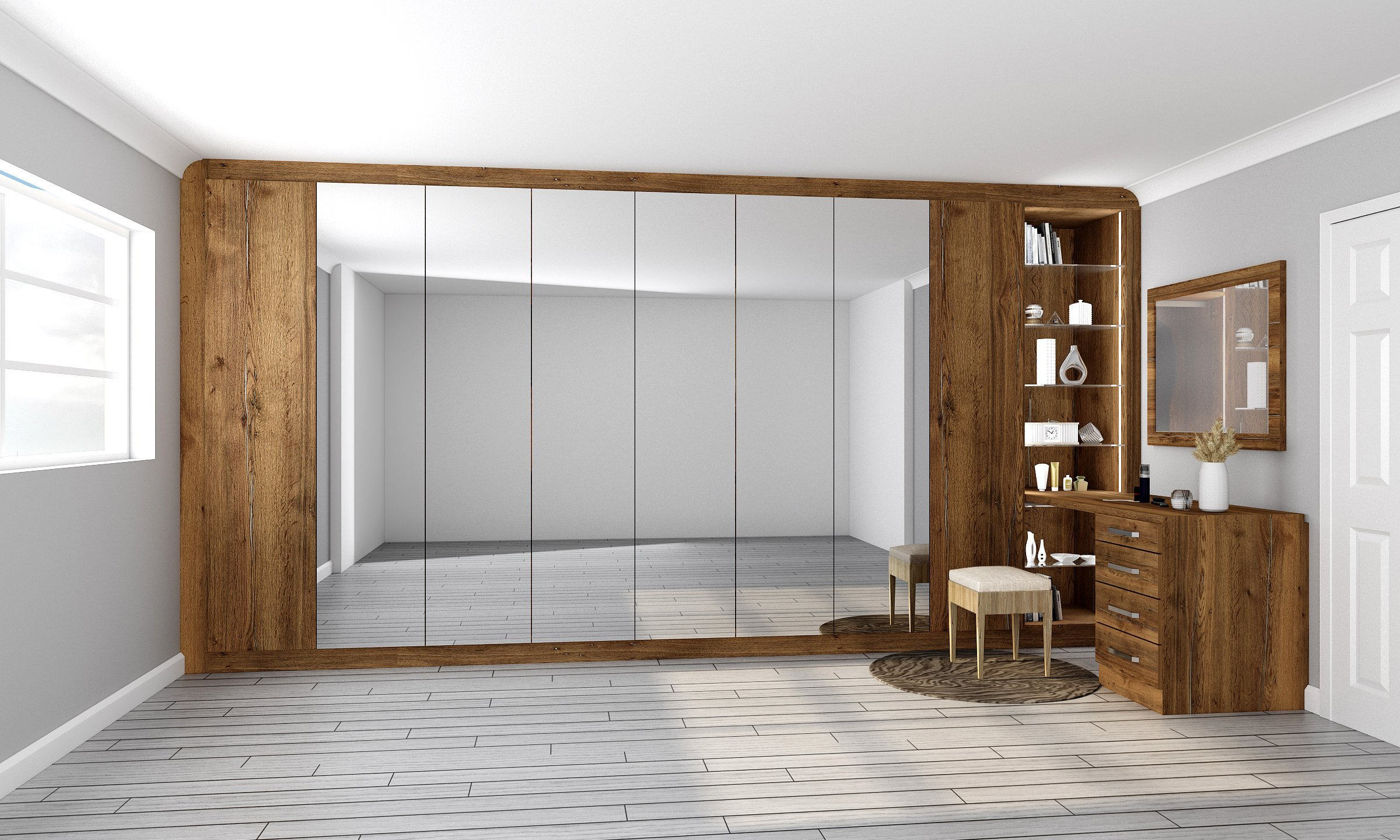 Hinged Wardrobe With Full Mirror Wooden Finish Glass Open Shelf