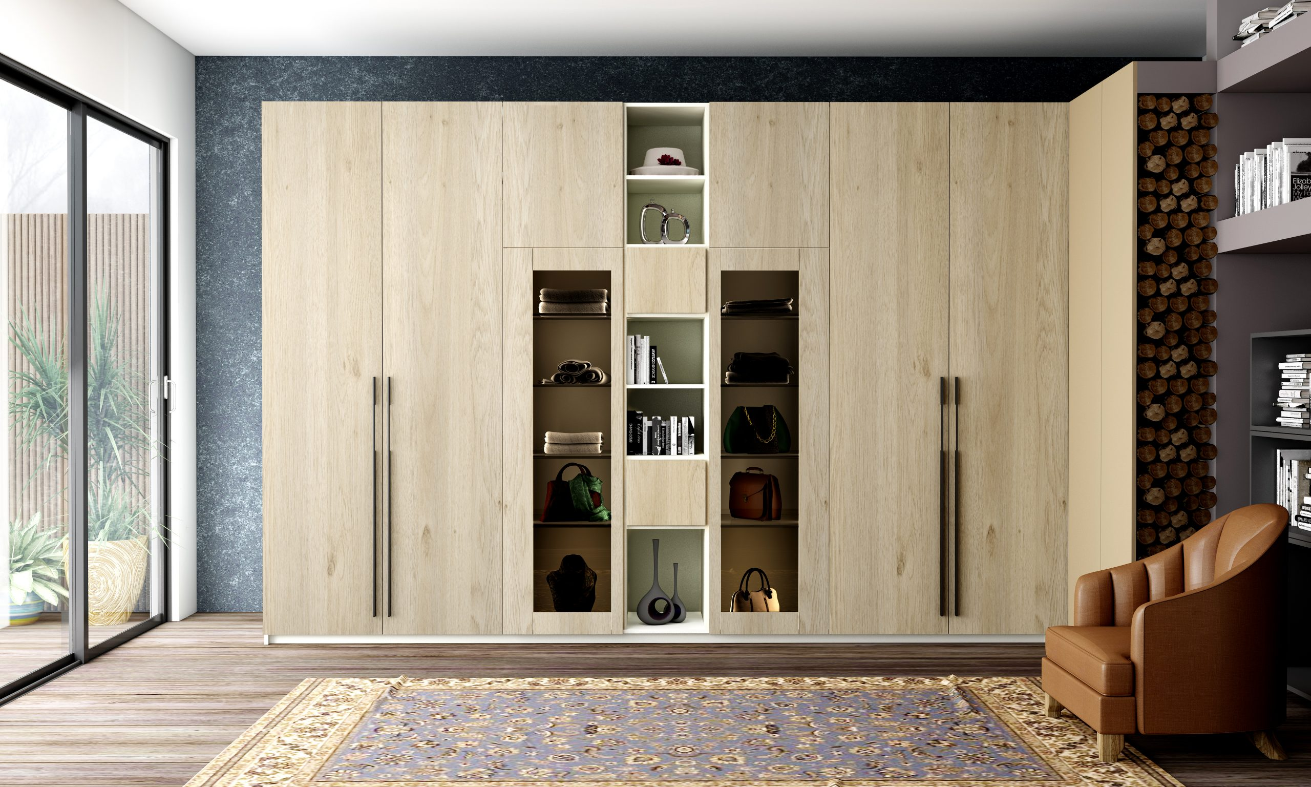 Hinged Wardrobe With Glass Frame Doors Combination in Grey Odessa Oak Finish