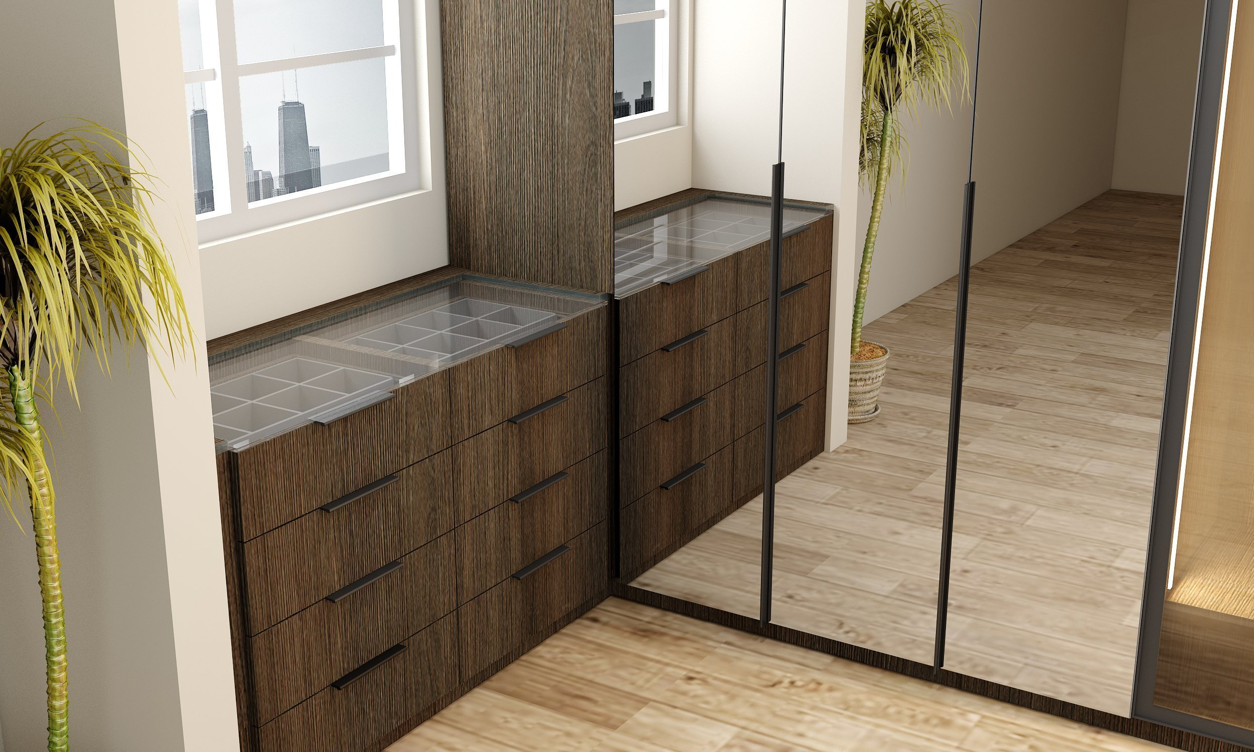 Linear Glass Wardrobe in Dark Wood Oak Finish With Mirrors & Chest of Drawers