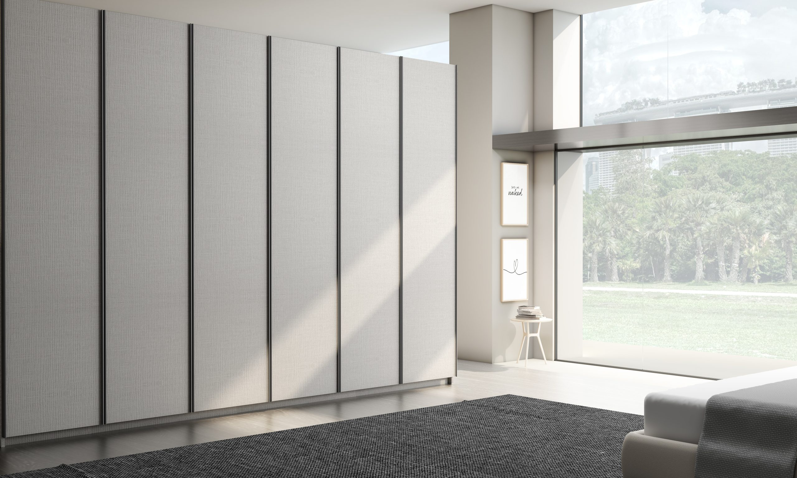 Linear Wood Fitted Hinged Wardrobe in Italian Textured Finish
