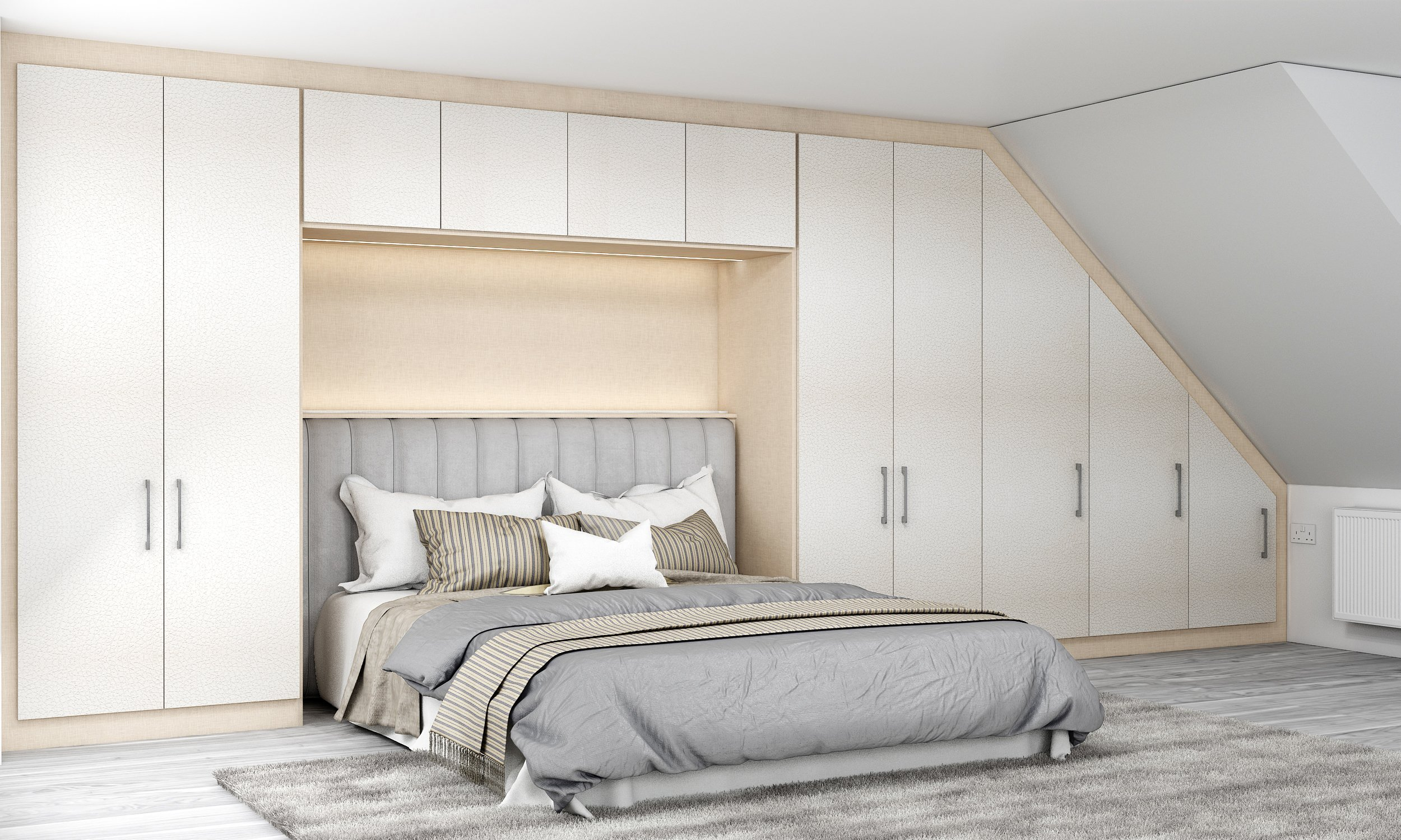 Loft Fitted Wardrobe in Cream Leather Texture and Cashmere Finish