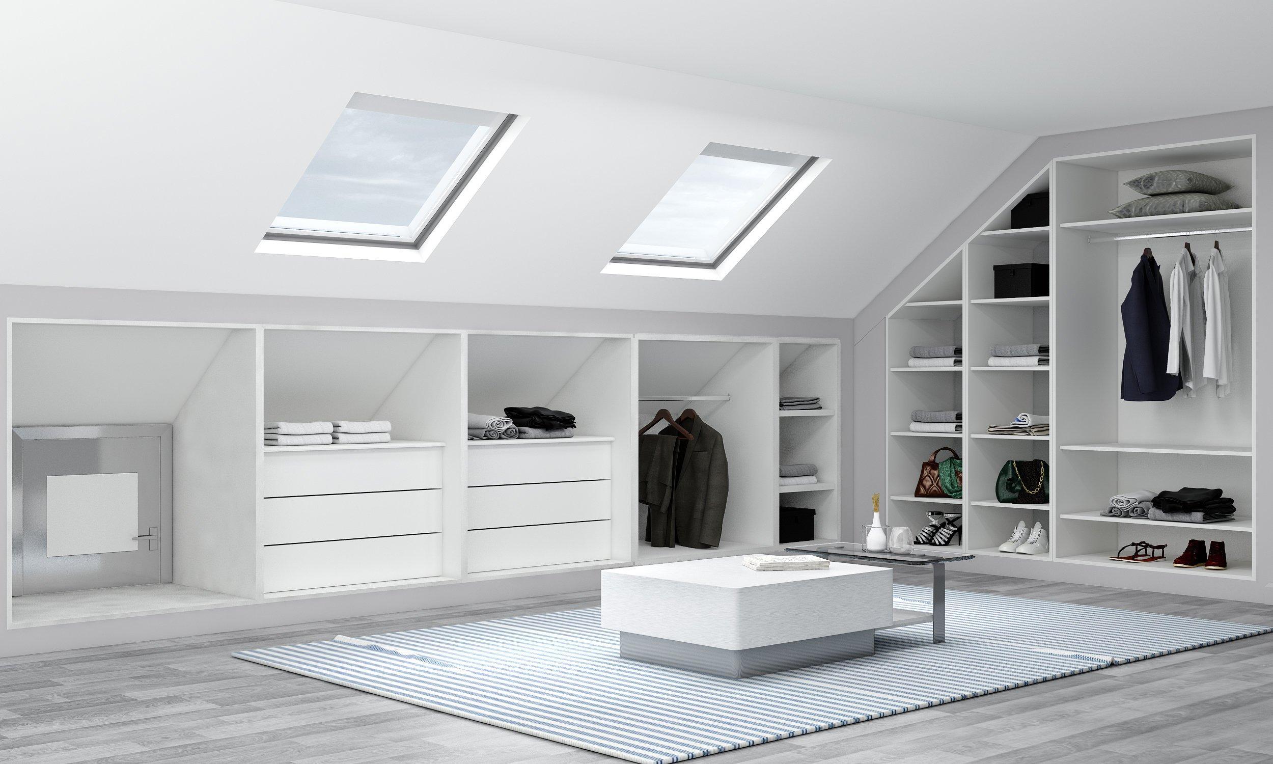 Loft Fitted wardrobe in Light grey matt finish
