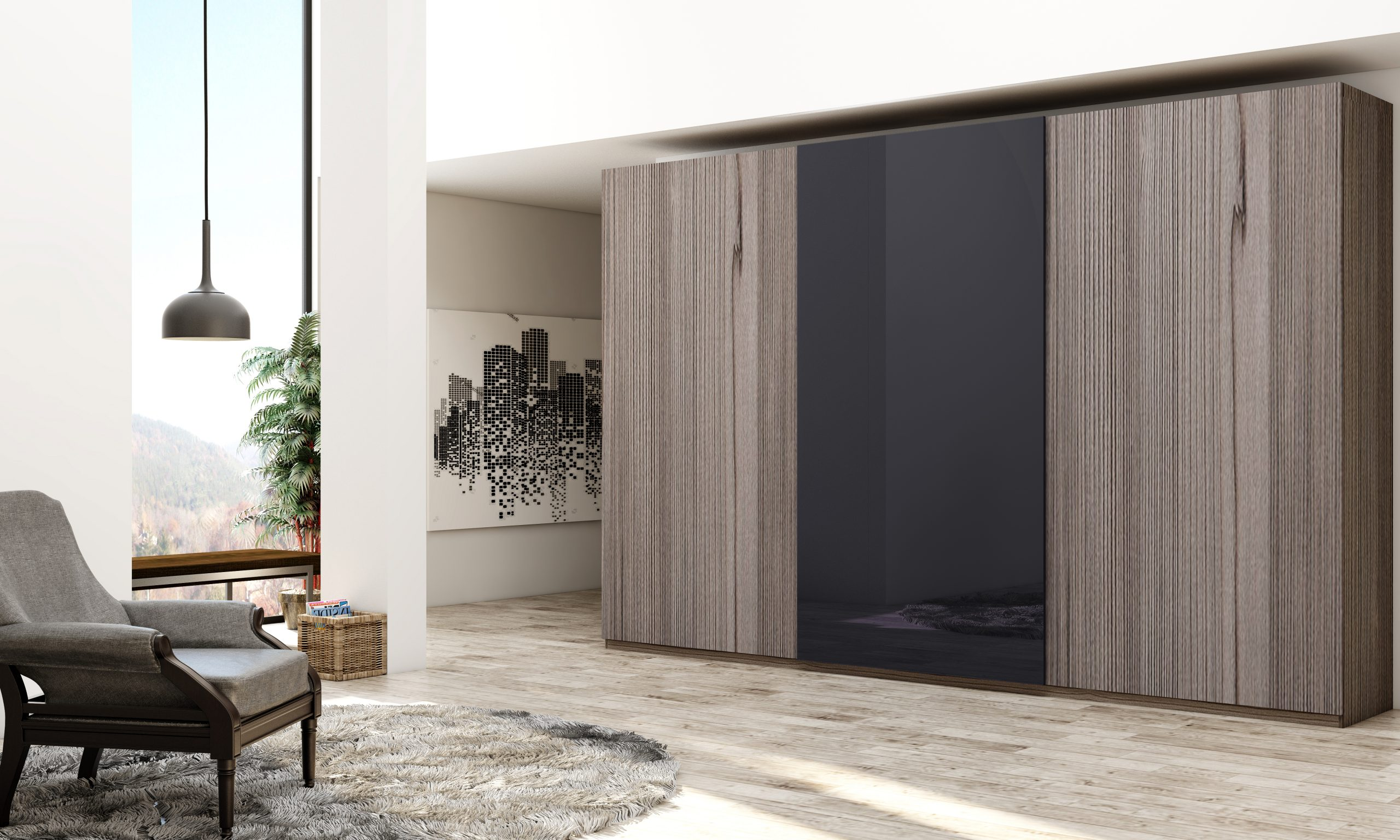Made to Measure Top Hung Frameless Sliding Wardrobe in Graphite Grey Fleetwood and Indigo Gloss Blue