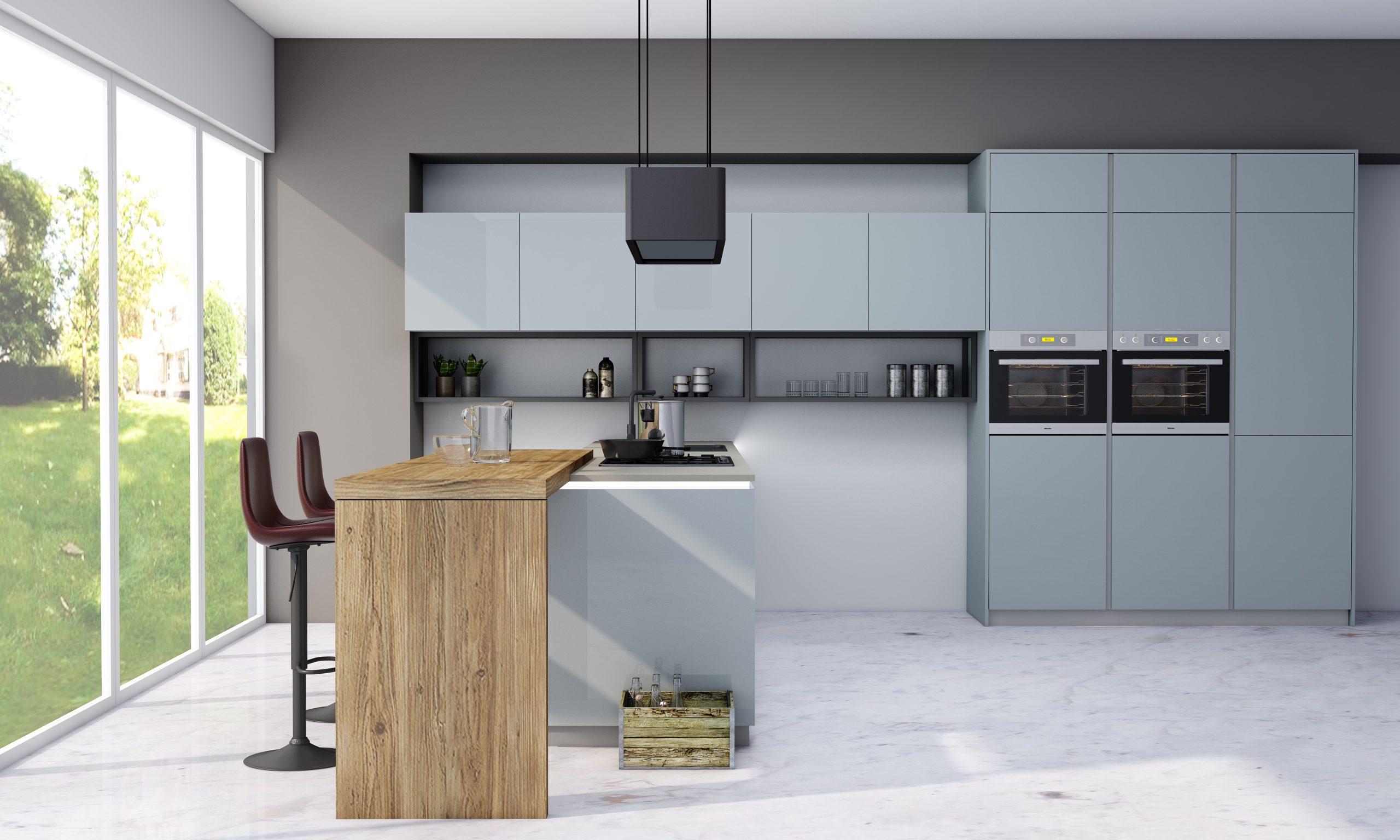 Premiumline kitchen in aluminium handleless profile with dining area finish Metallic blue gloss acrylic (2)