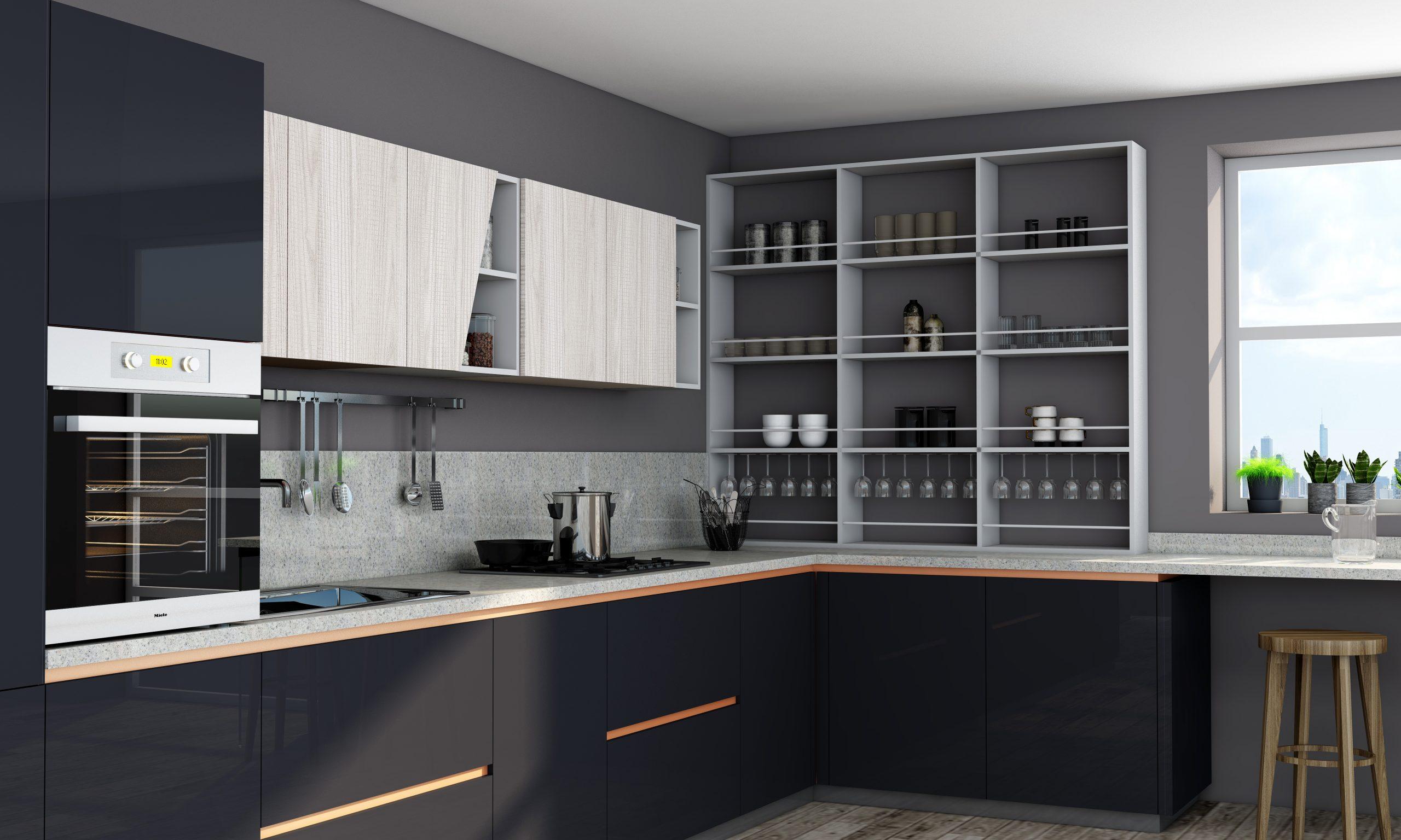 Premiumline Kitchen With Brass Handleless Profile in Dark Grey Gloss and Fabric Ash Finish