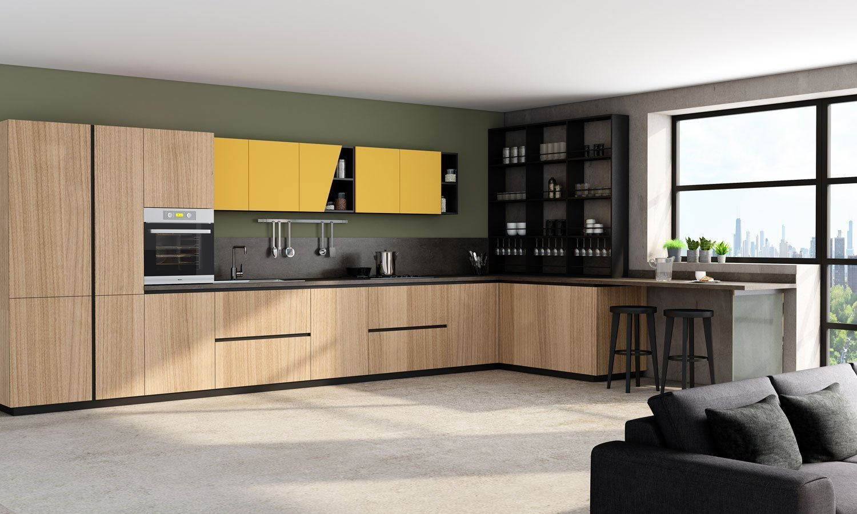 Premiumline Kitchen With Black Handleless Profile in Sand Orleans Oak Wood Grain and Sunshine Matt Finish