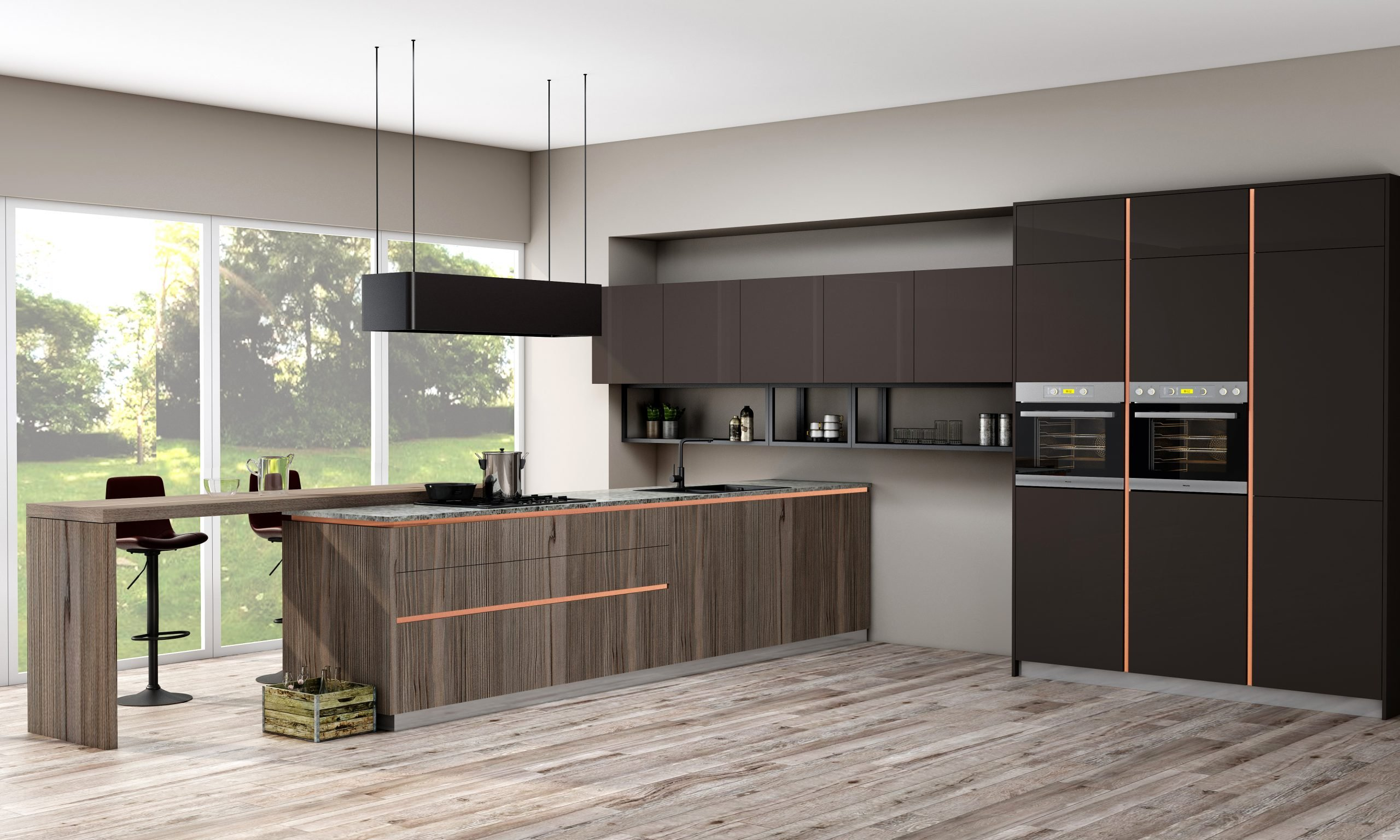 Premiumline Peninsula Kitchen With Brass Handleless Profile Along With Island Graphite Grey and Woodgrain Finish