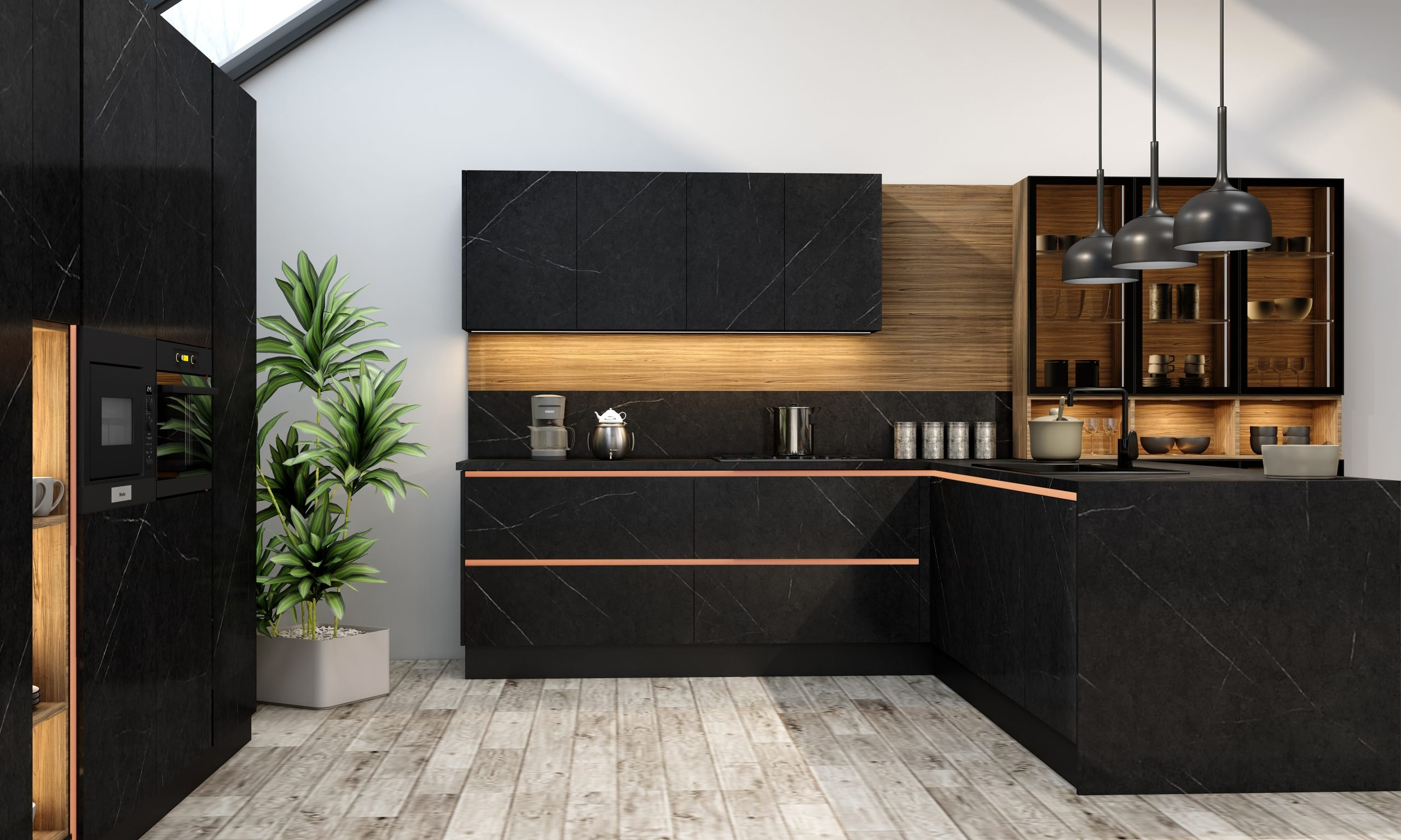 Premiumline Peninsula Kitchen With Gold Handleless Profile in Levanto Black Stone Finish