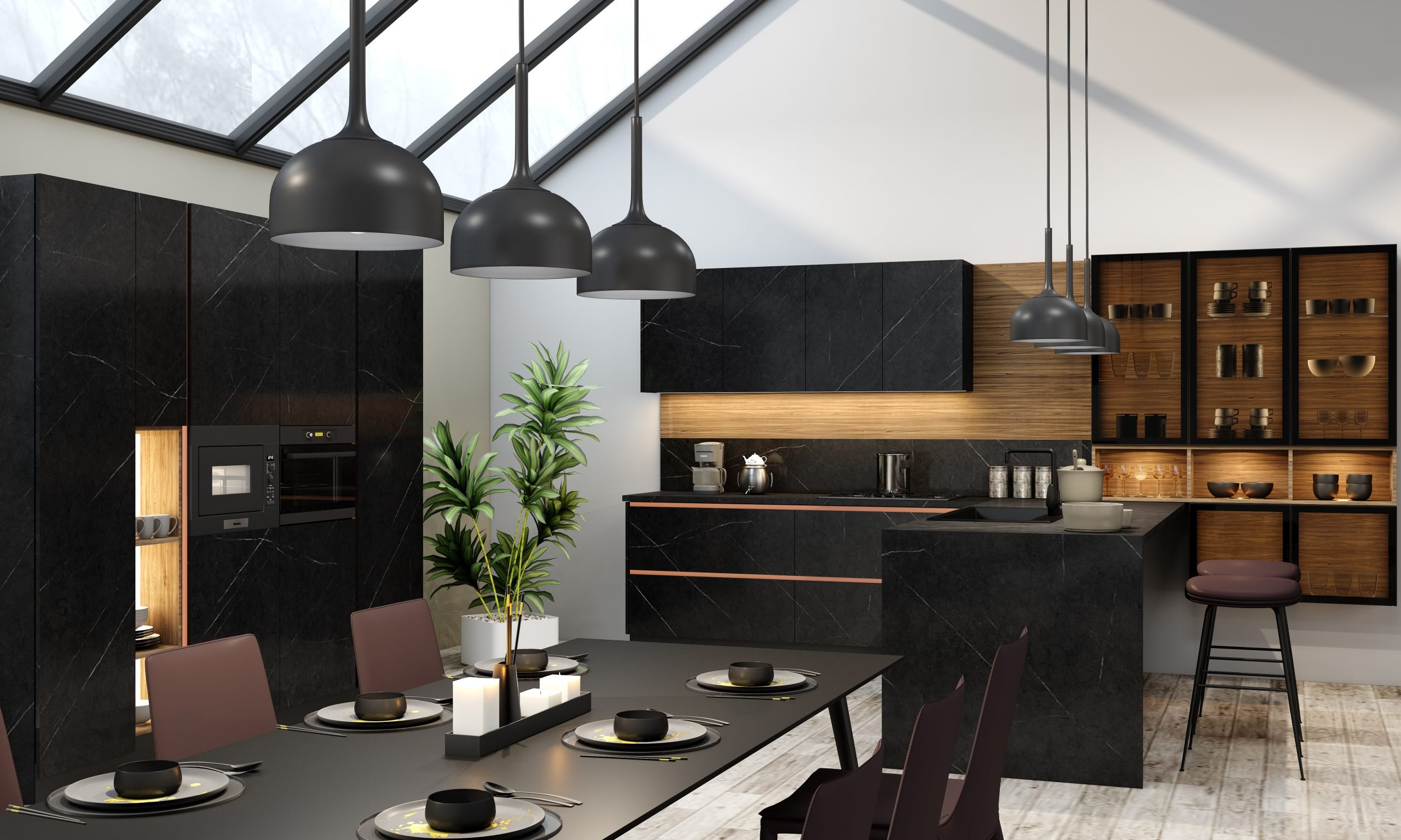 Premiumline Modern Kitchen With Gold Handleless Profile in Levanto Black Stone Finish