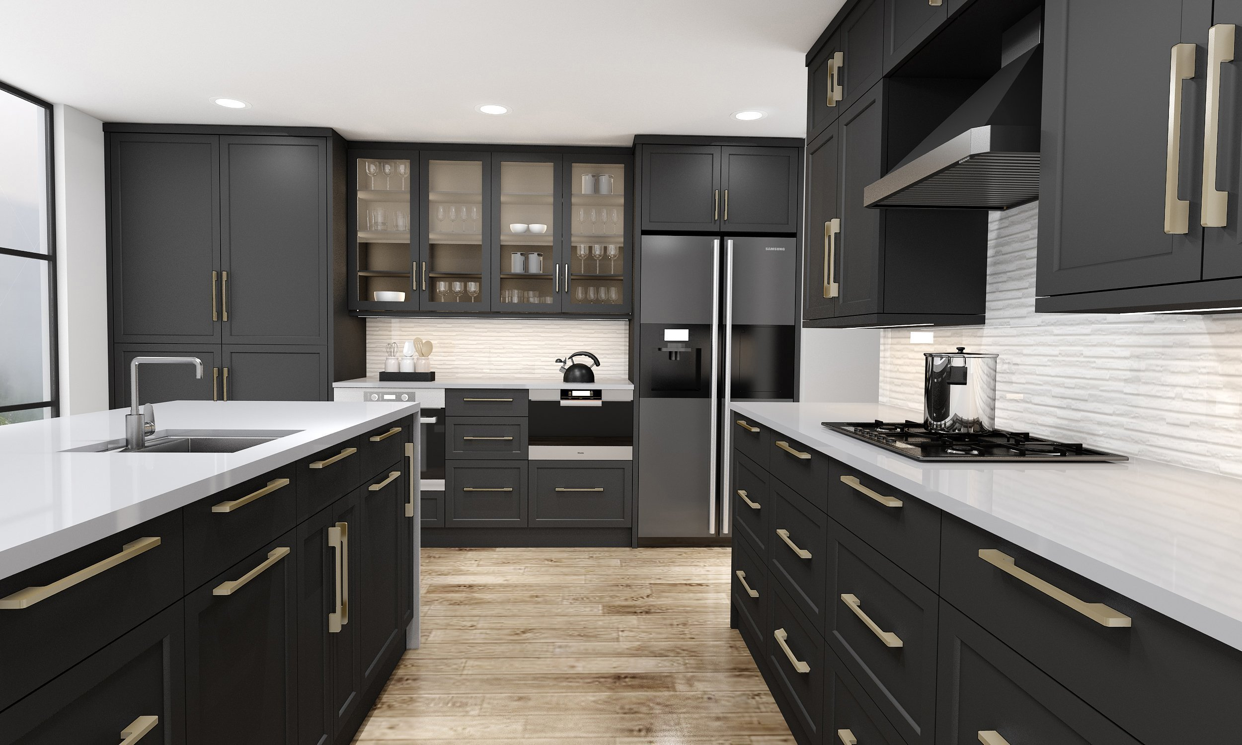 Shaker Kitchen Style L Shape Kitchen in Black Finish With Island