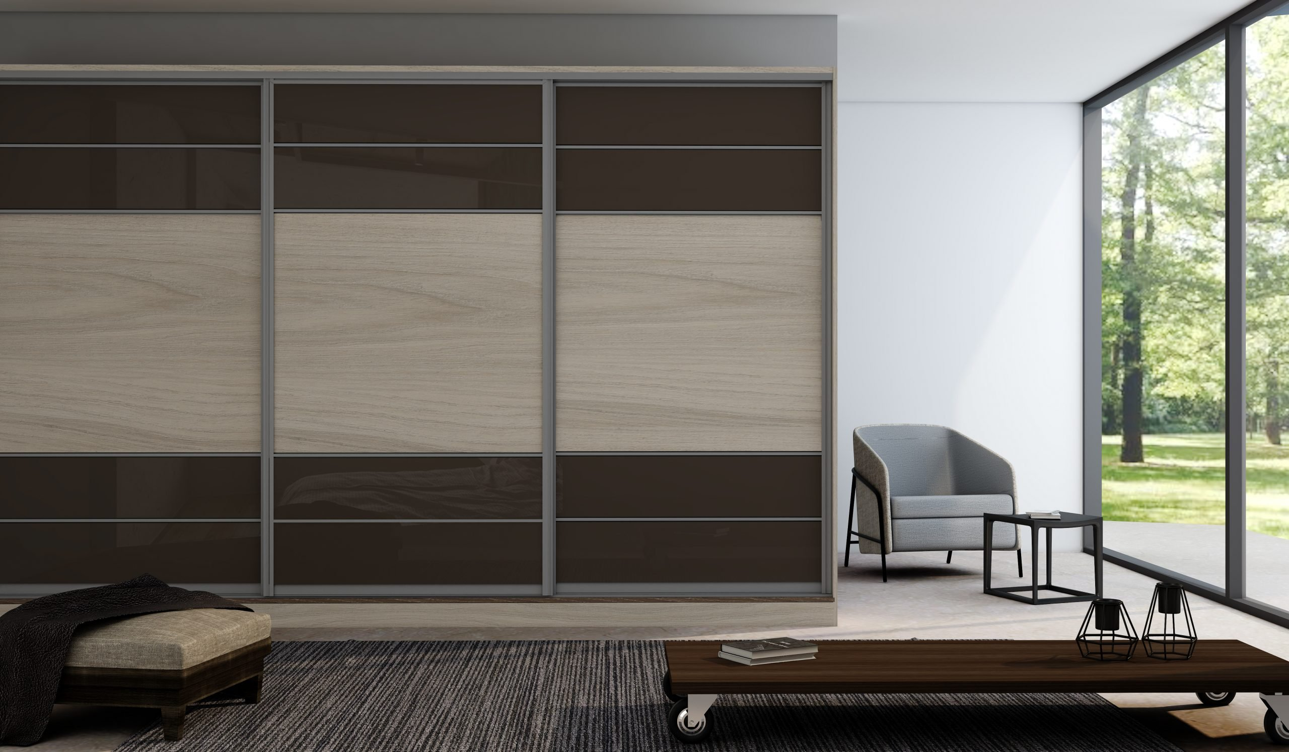 Sliding Fitted Wardrobe with five panels in combination of Brown gloss and Oak Grain.