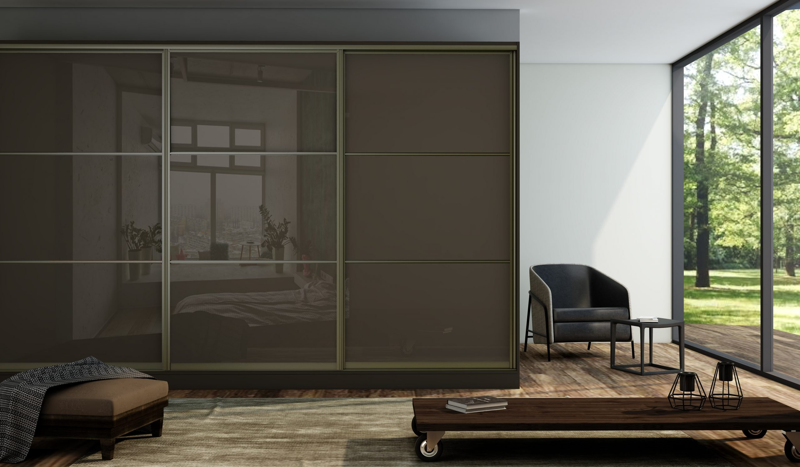 Sliding Fitted Framed Wardrobe With Three Panels in Brown Gloss Finish