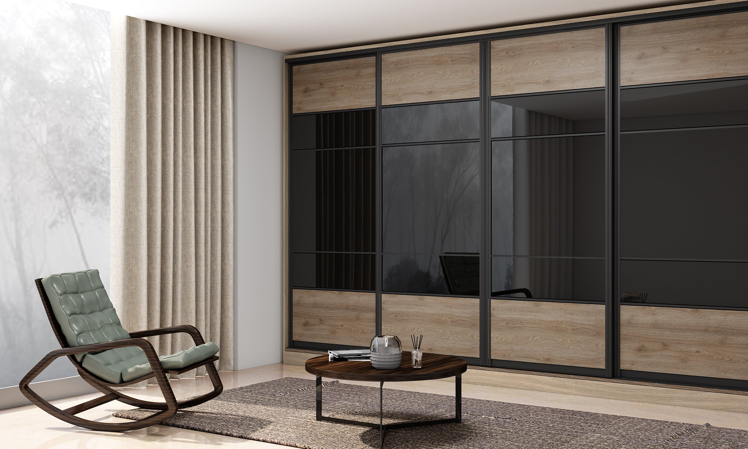 Sliding Fitted Wardrobe with Frame in Oak and Grey Smoked Glass Finish