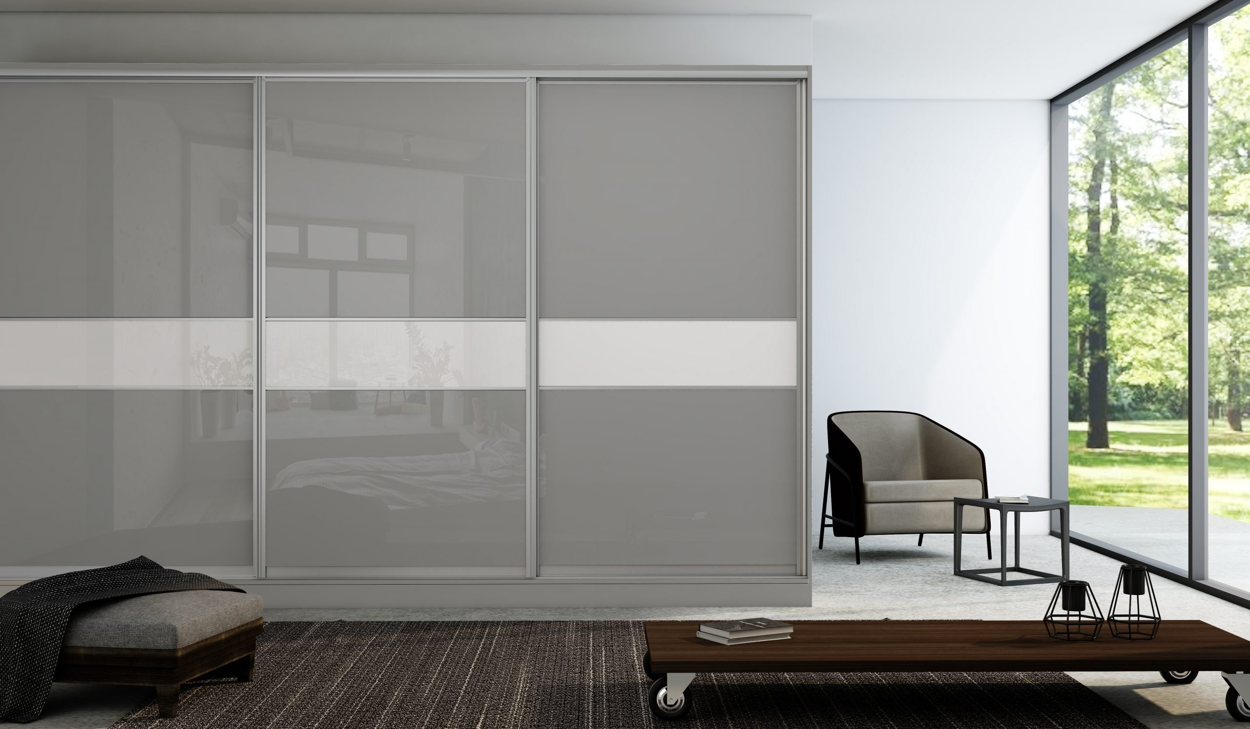 Built-in Sliding Framed Fitted Wardrobe in Combination of Grey Gloss and Snow white finish