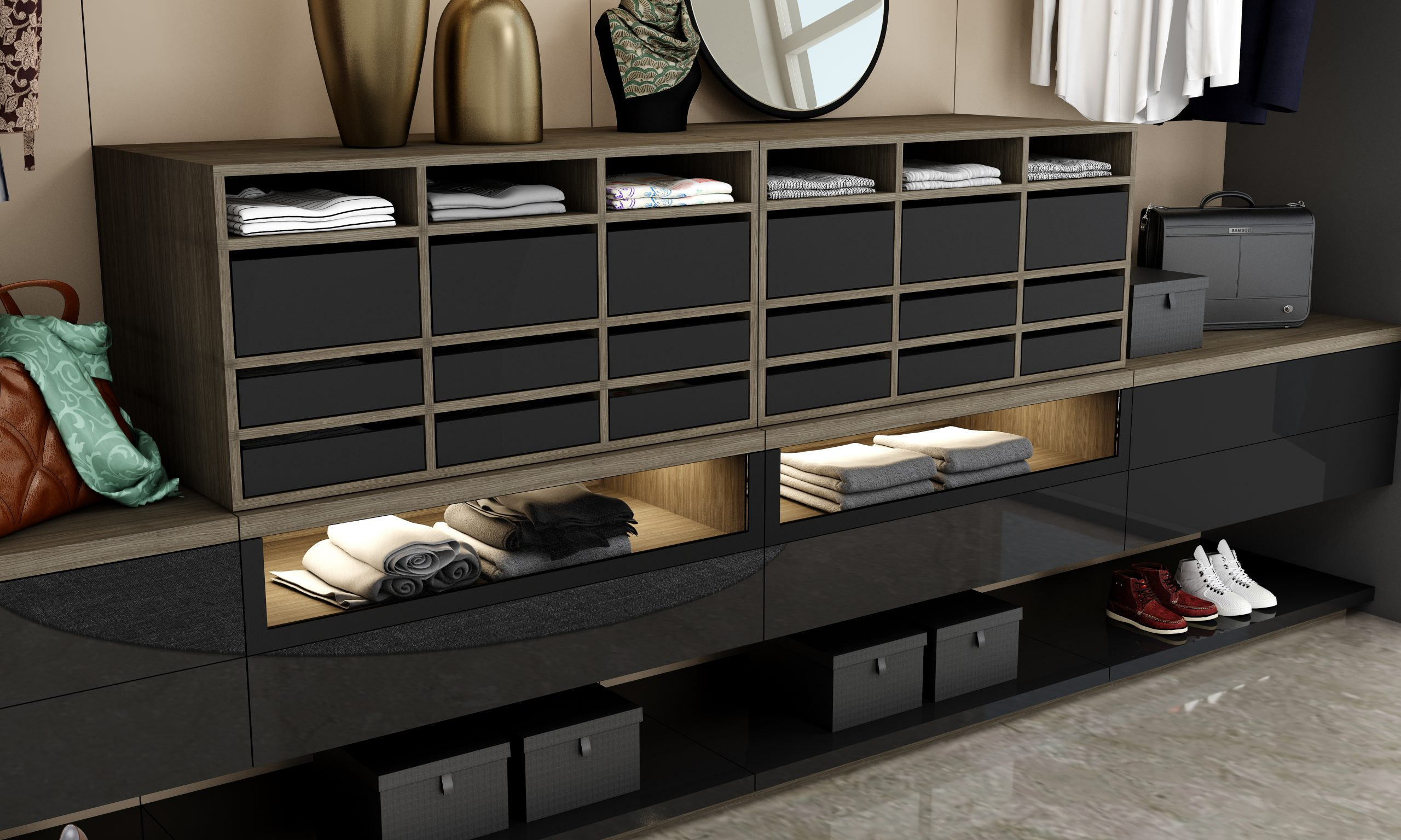 Small Walk-in Shelving Fitted Wardrobe With Hinged Wardrobe in Combination of Sable Wood and Dark Grey