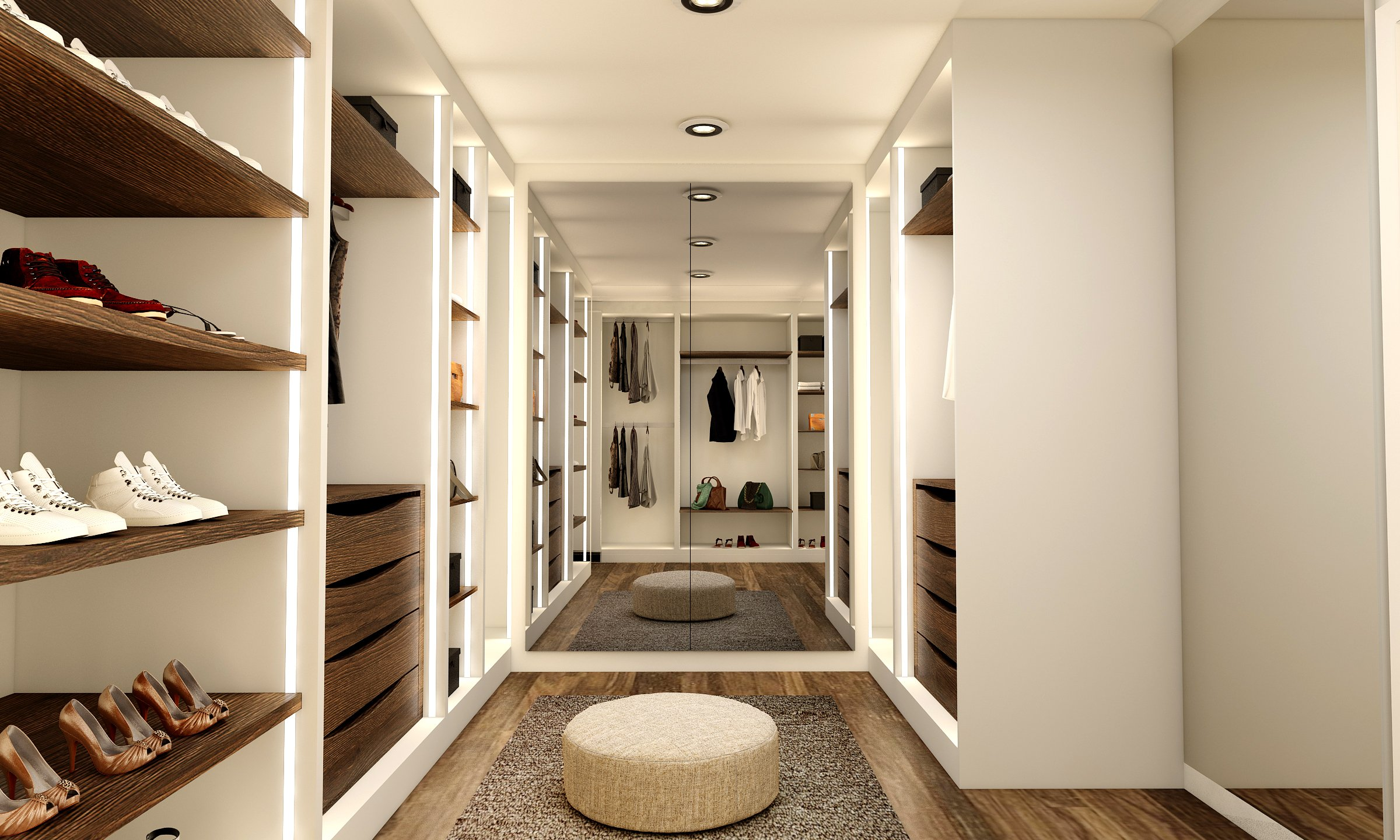 Modern Small Walk-in Wardrobe With Mirrored Wardrobe Combination