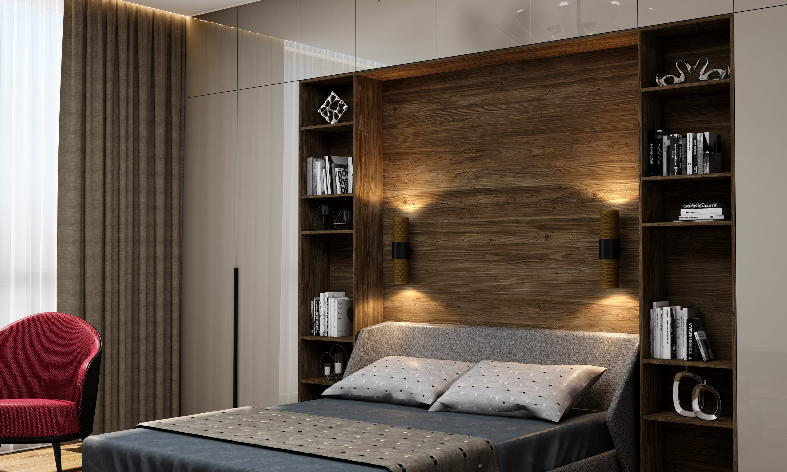 Bedroom of Hinged Wardrobe With Bridge and Open Shelves