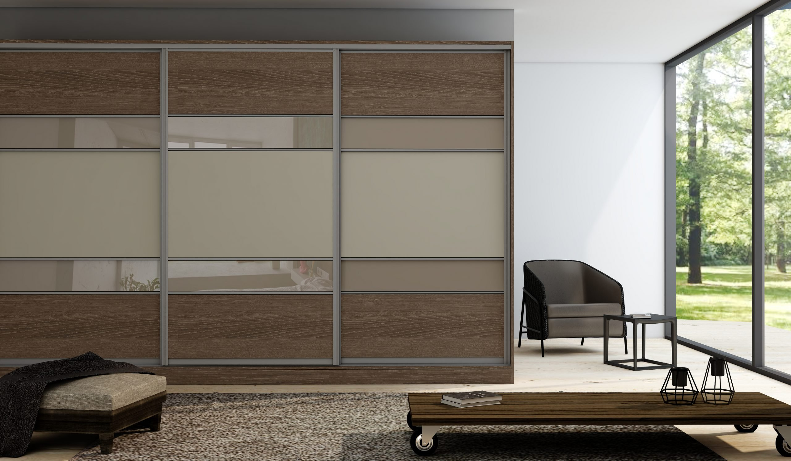 Wooden Sliding Fitted Wardrobe Oak With Five Panels in Combination of Light Woodgrain