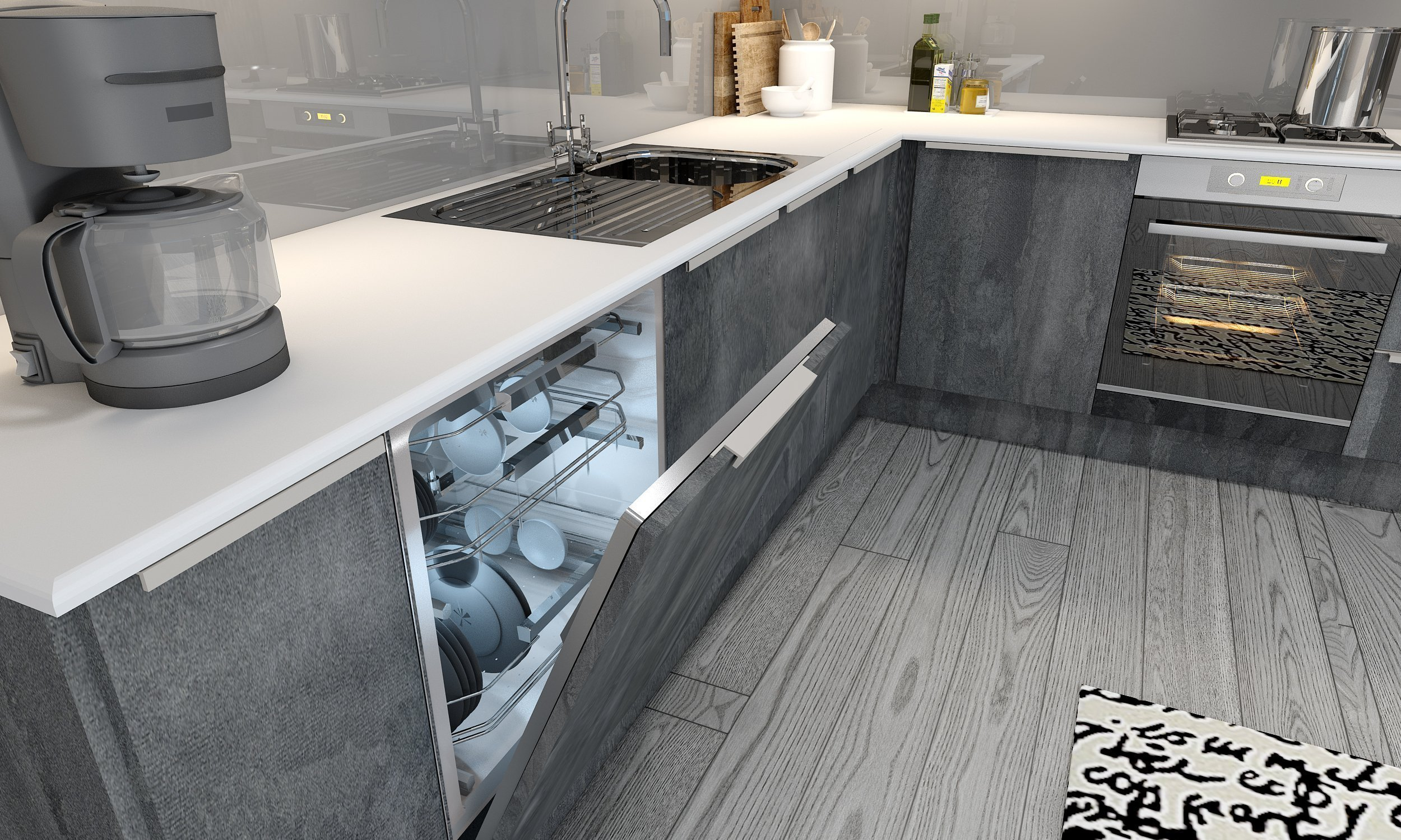 Kitchen With Profile Handle in Concrete Flow and Iron Flow
