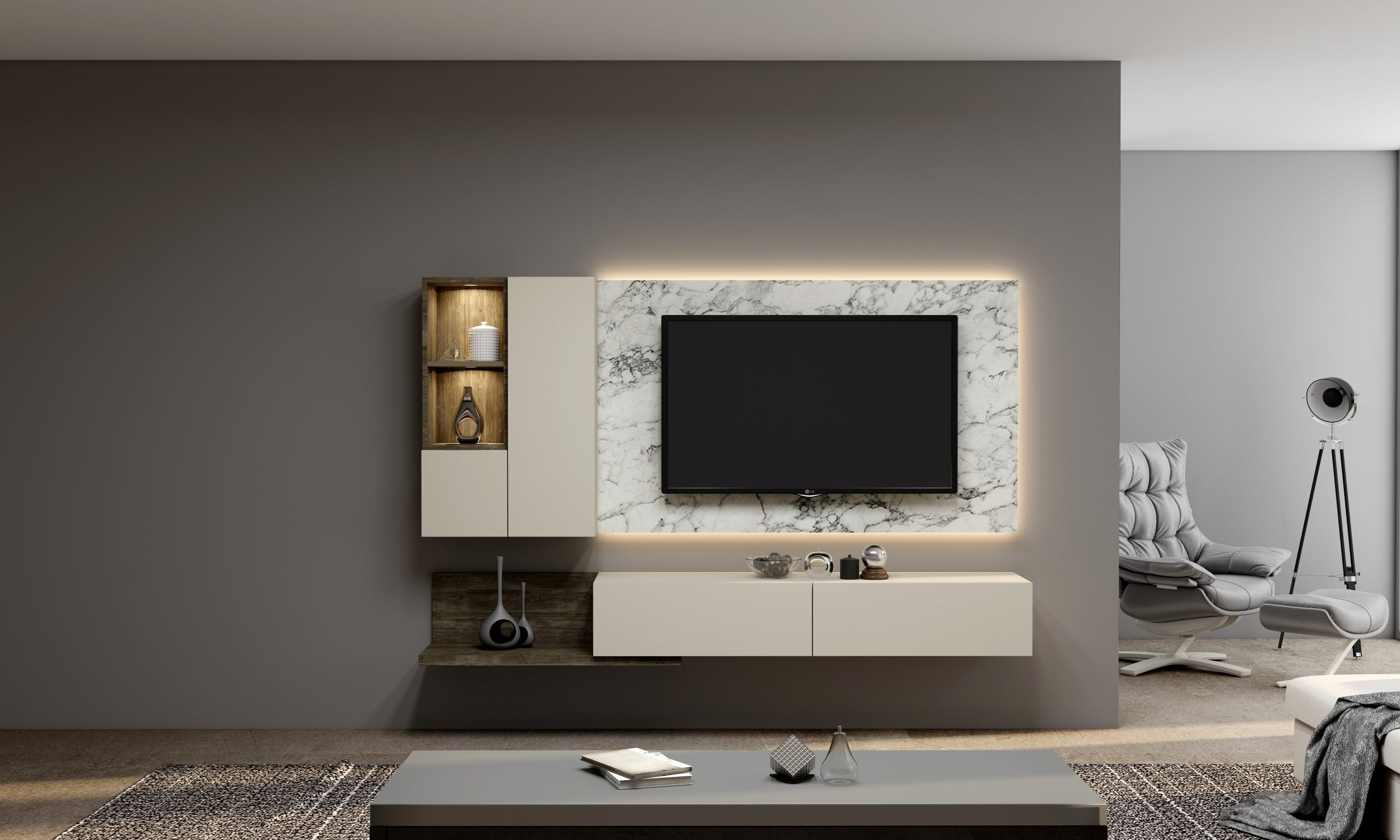 Gloss TV unit with Storage in Open shelf, Wall Units, Drawers in combination with Cream, Natural Carini Walnut and White Levanto Marble