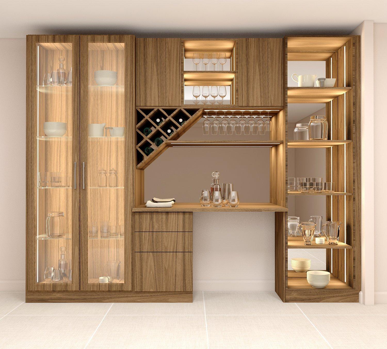 Bar area with glass framed wardrobe and open glass shelf unit with LED lights & diamond shape wine rack