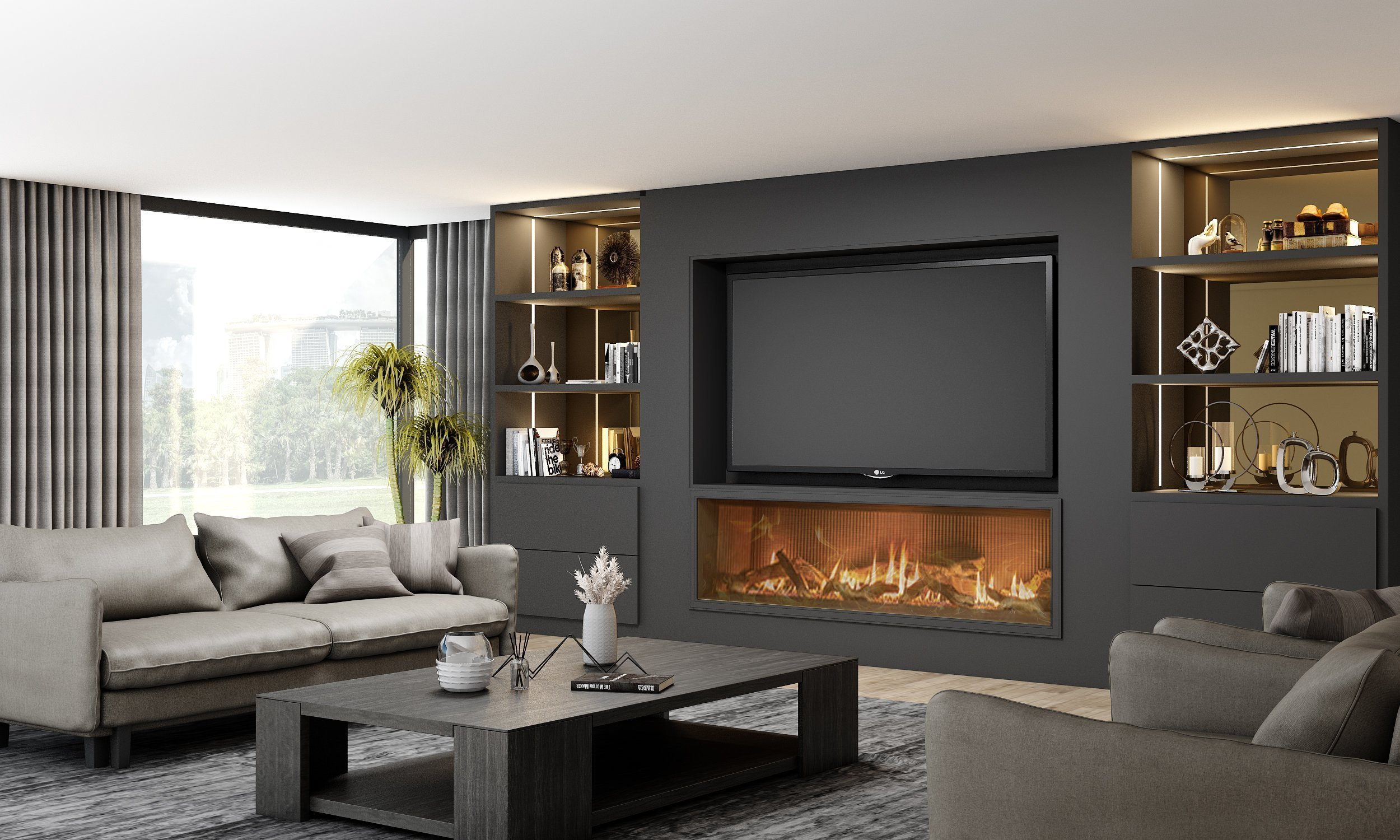 Matt Bespoke Fitted TV unit with storage and fireplace finished in Black Matt and Tinted Bronze glass