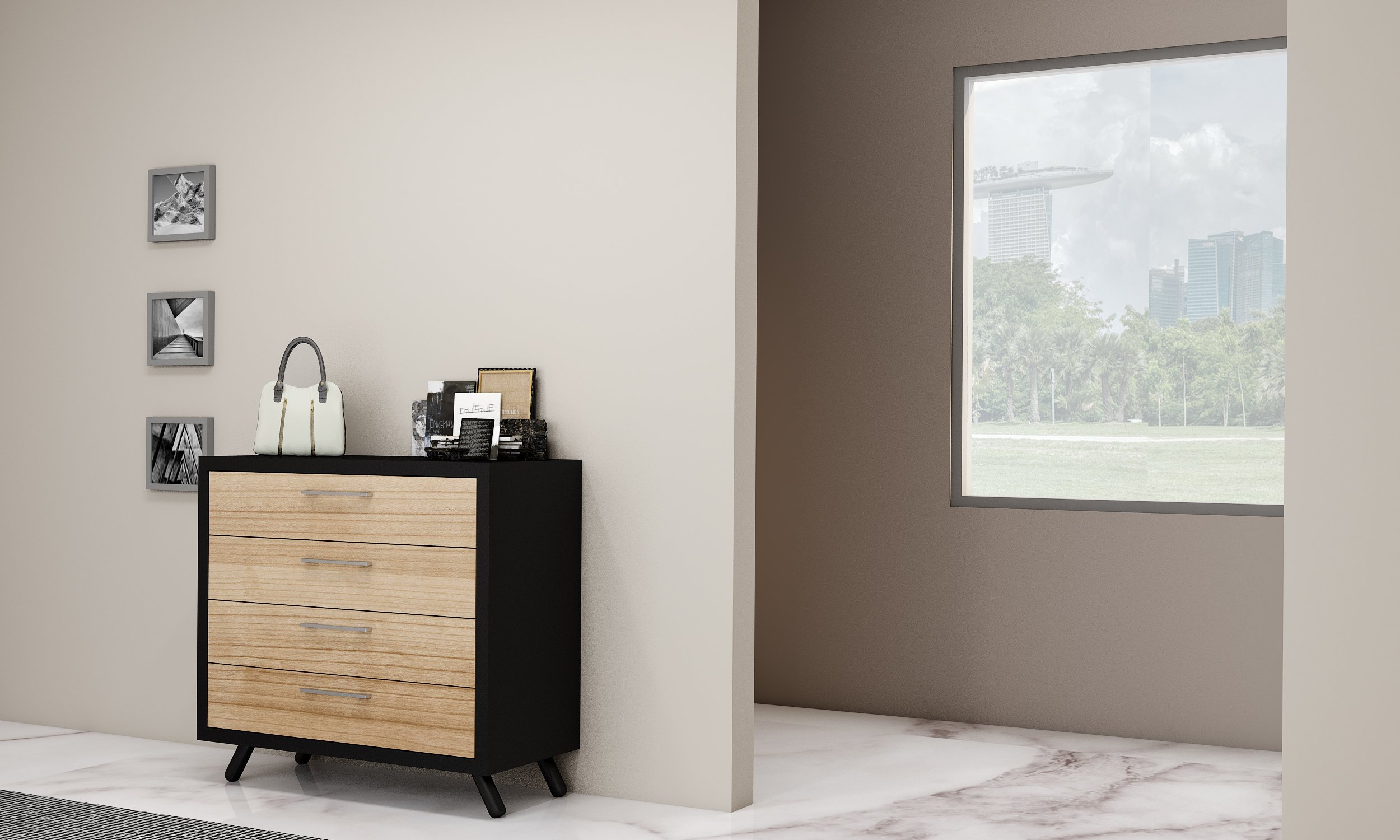 Chest Drawer cabinet with black frame and woodgrain front