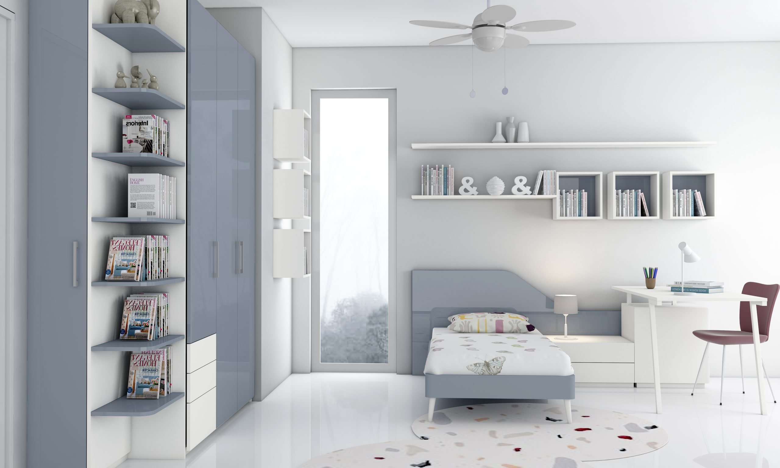 Children room fitted wardrobe storage with study and alcoves in alpine white and danim blue finish