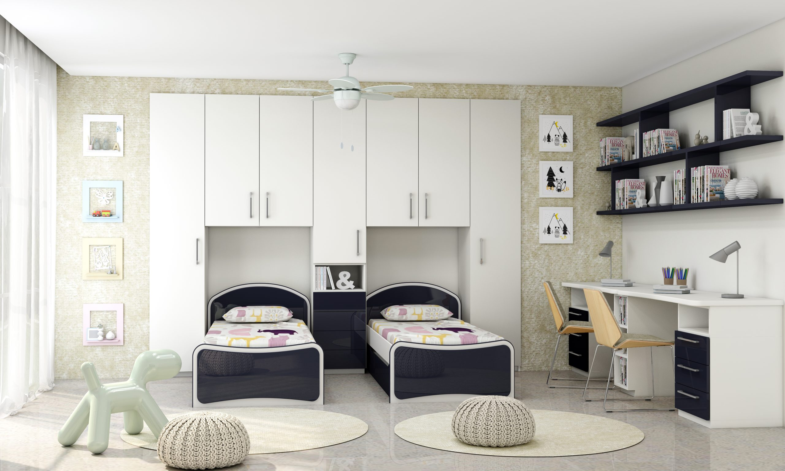 Children Bedroom Fitted Wardrobe Storage With Study and Alcoves in Alpine White and Indigo Blue Finish