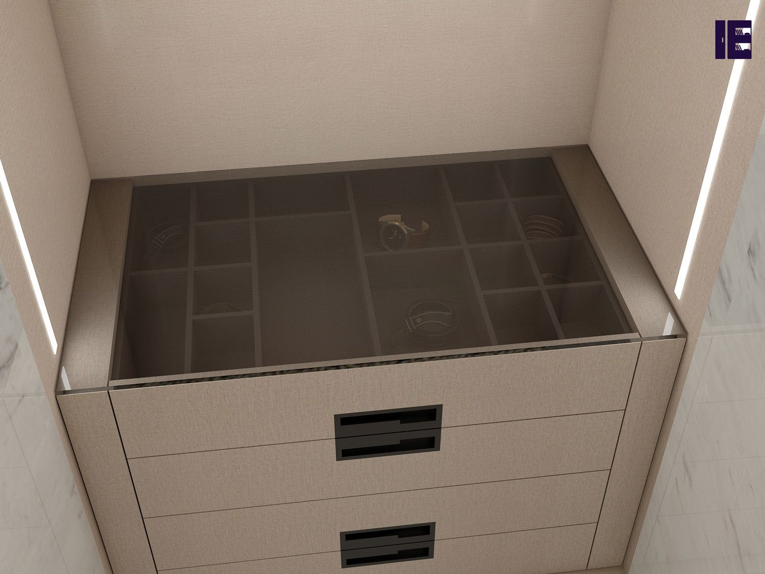 linear walking fitted wardrobe details_Divider with Drawer