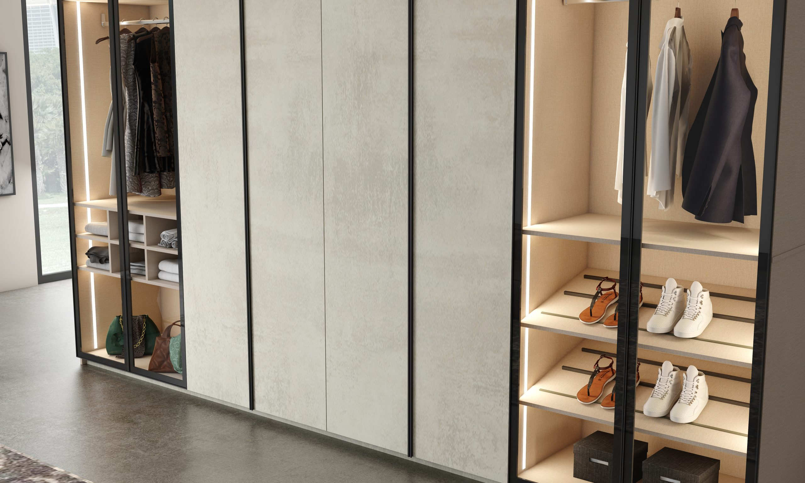 Fitted wardrobe in combination of linar glass and linear wood in concrete finish