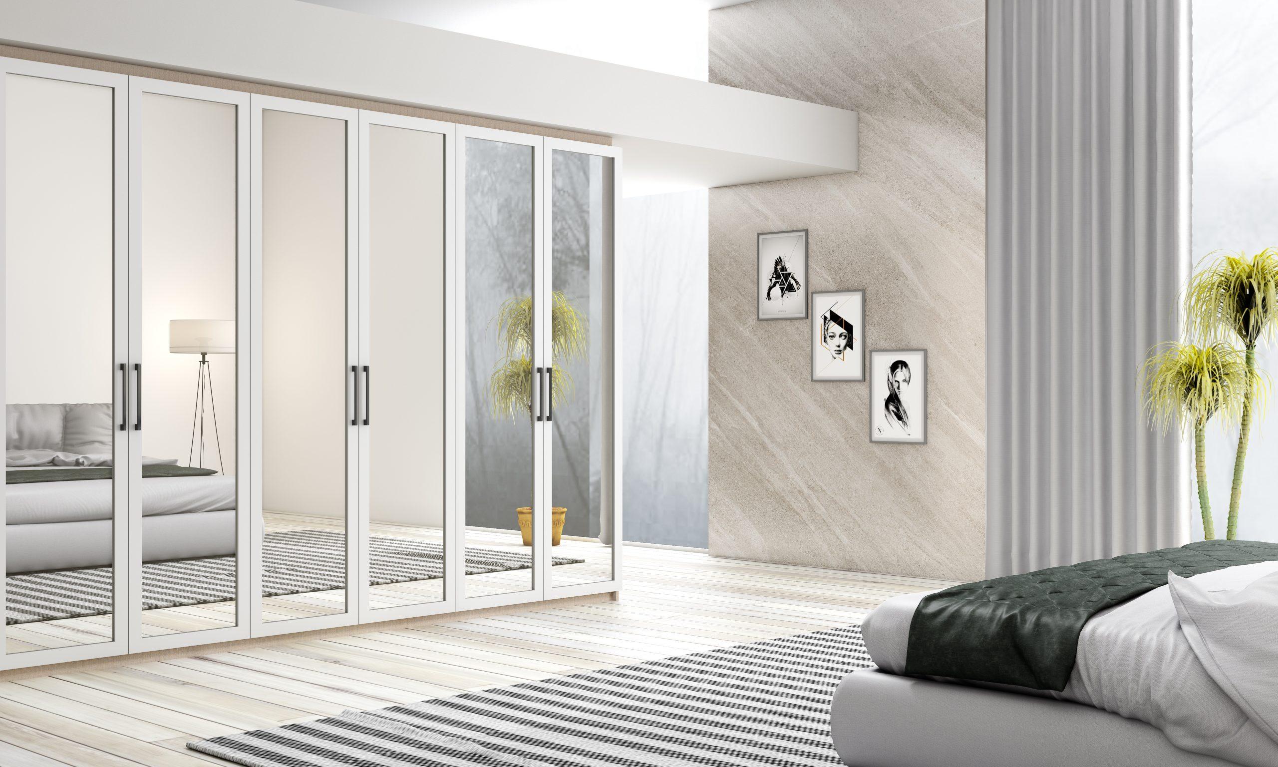 Framed Mirror Wardrobe in White Matt Finish