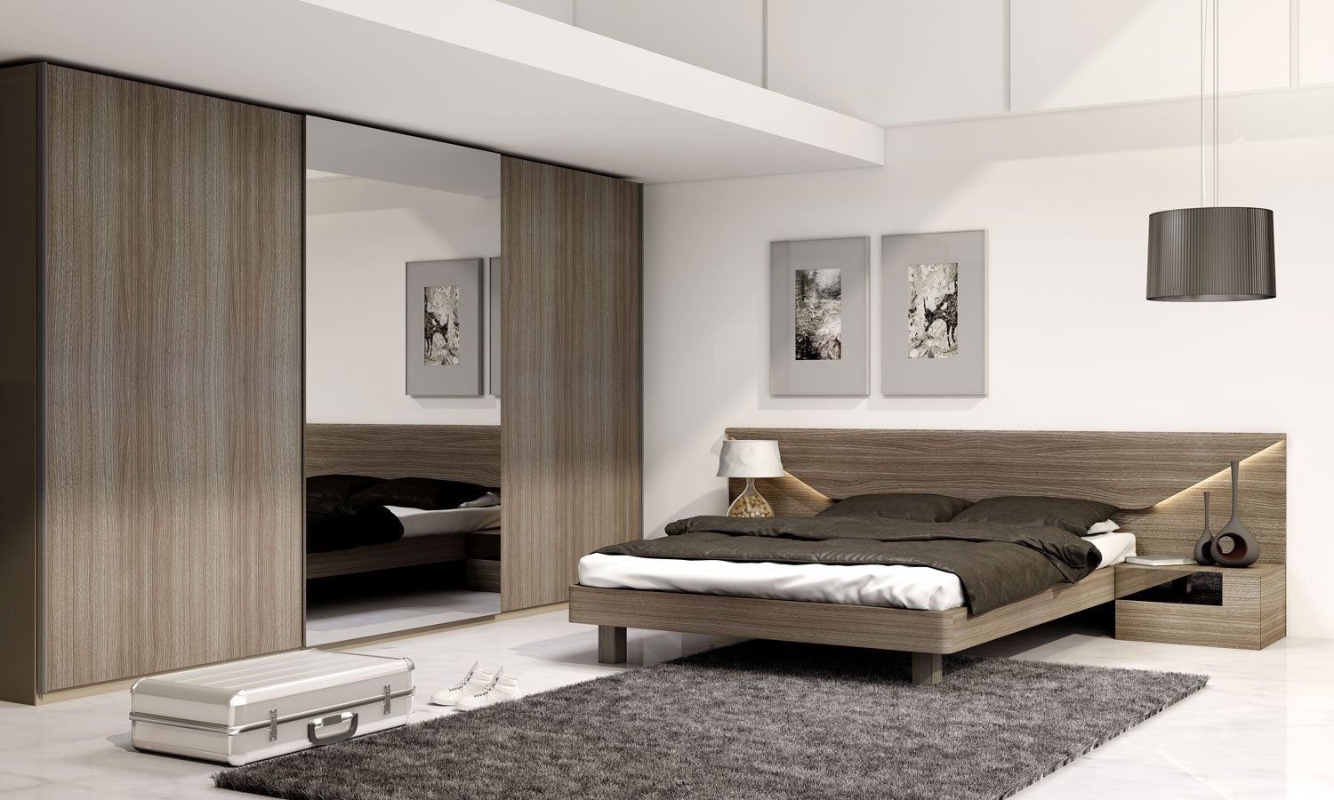 Frameless Sliding Wardrobe with Full Panel in combination of Woodgrain and Mirror