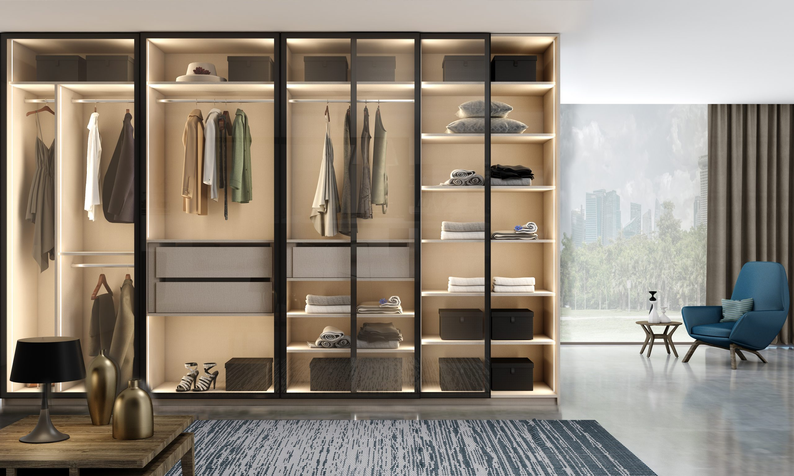 Glass Framed Sliding Door Wardrobe With Dark Aluminium Frame and Clear Glass Front