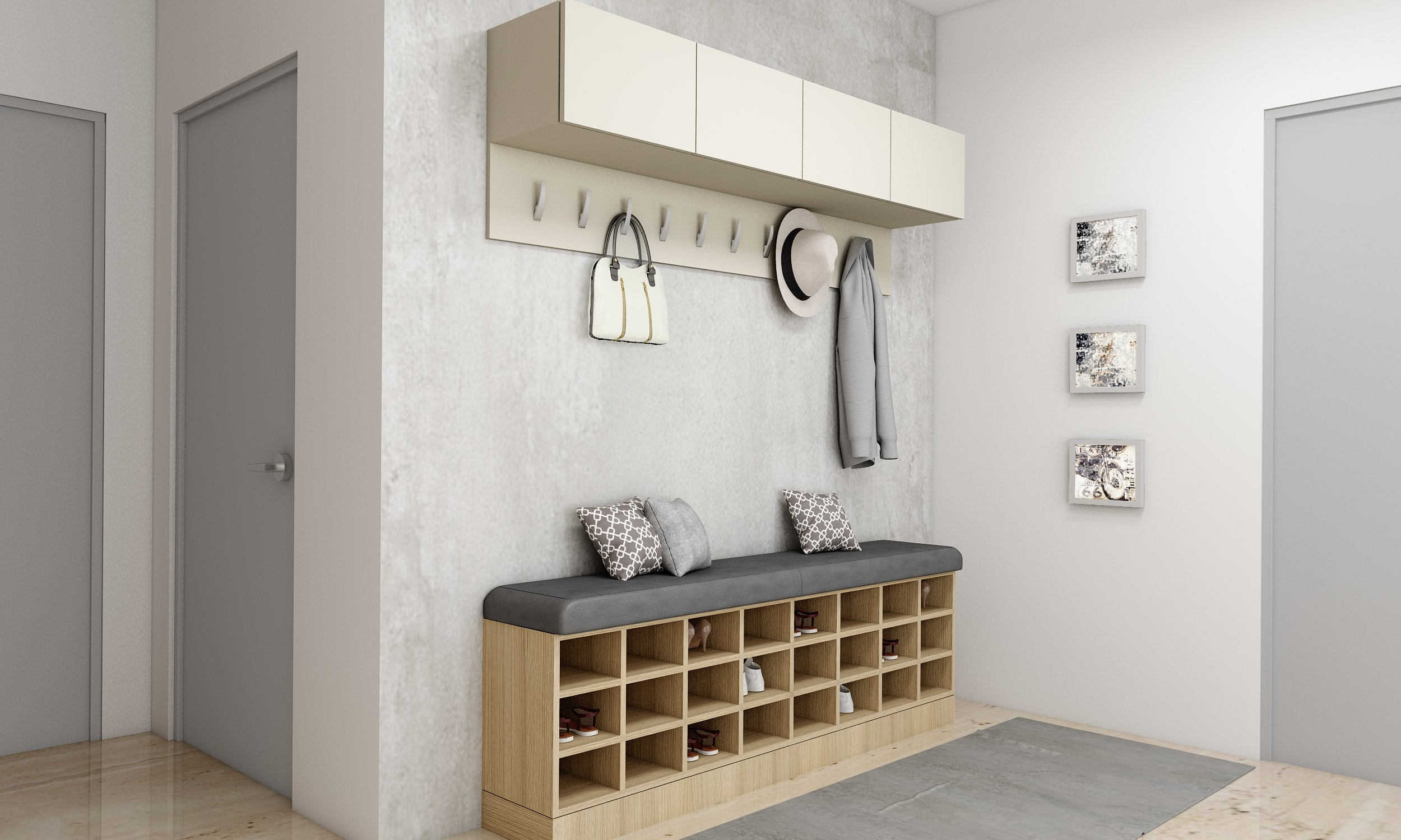 Hallway Cabinets in Light Grey and Wooden With Sitting Cushion Area and Coat Hanger