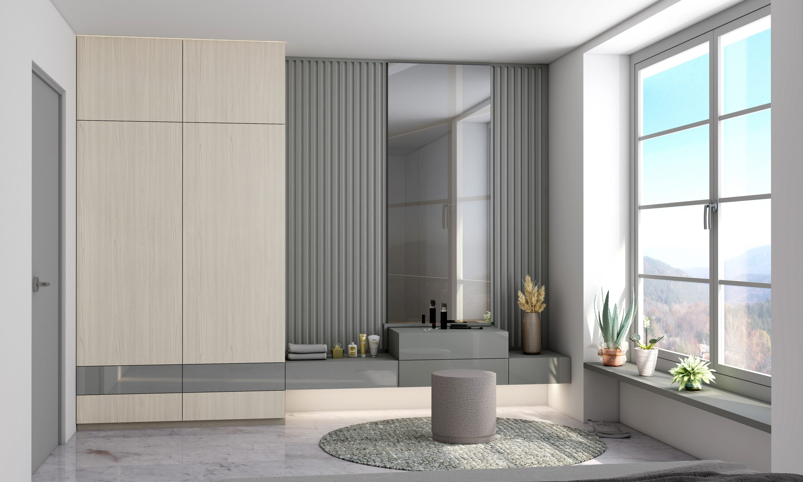 Hinged wardrobe with dressing table and extra drawer storage in Esperia and stone grey finish