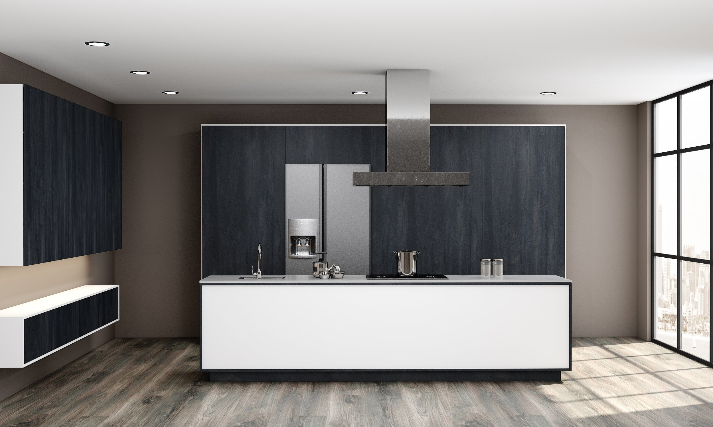 Wooden Kitchens of Charcoal Finish With White Matt and a Pocket Door