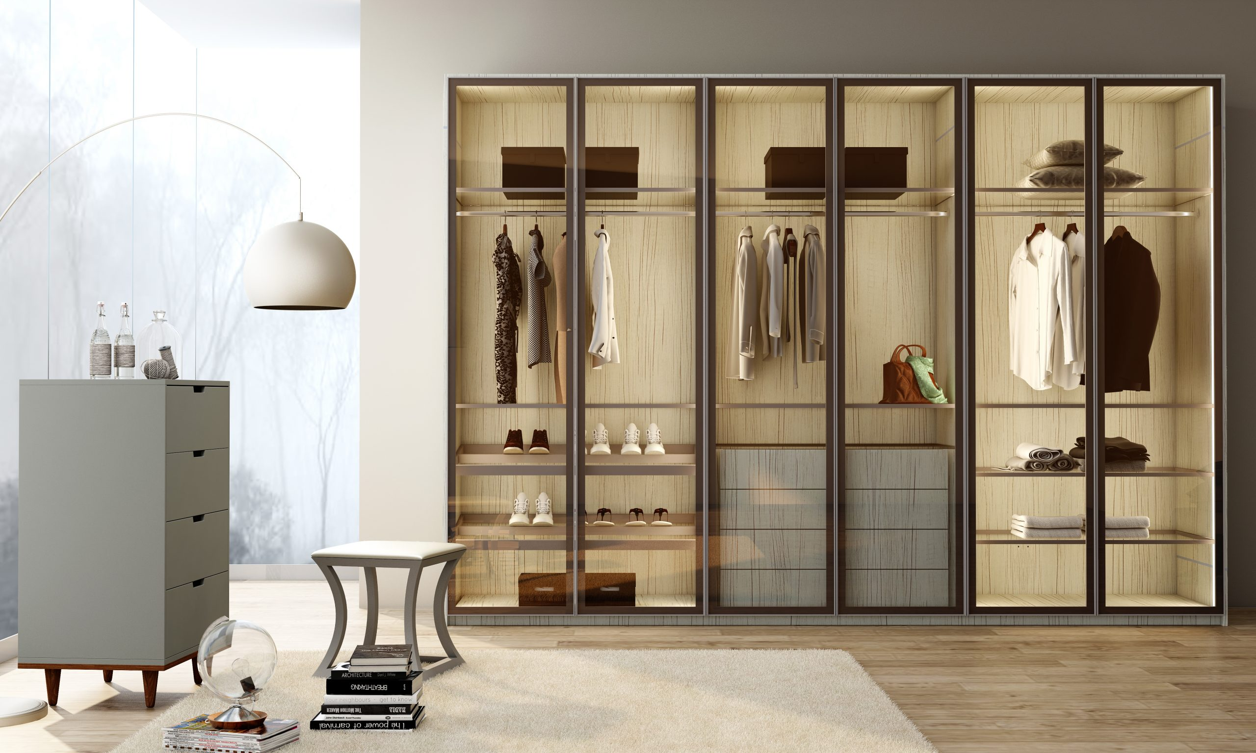Linear Glass Fitted Hinged Wardrobe With Aluminium Metal Grey Framed Hinged Door
