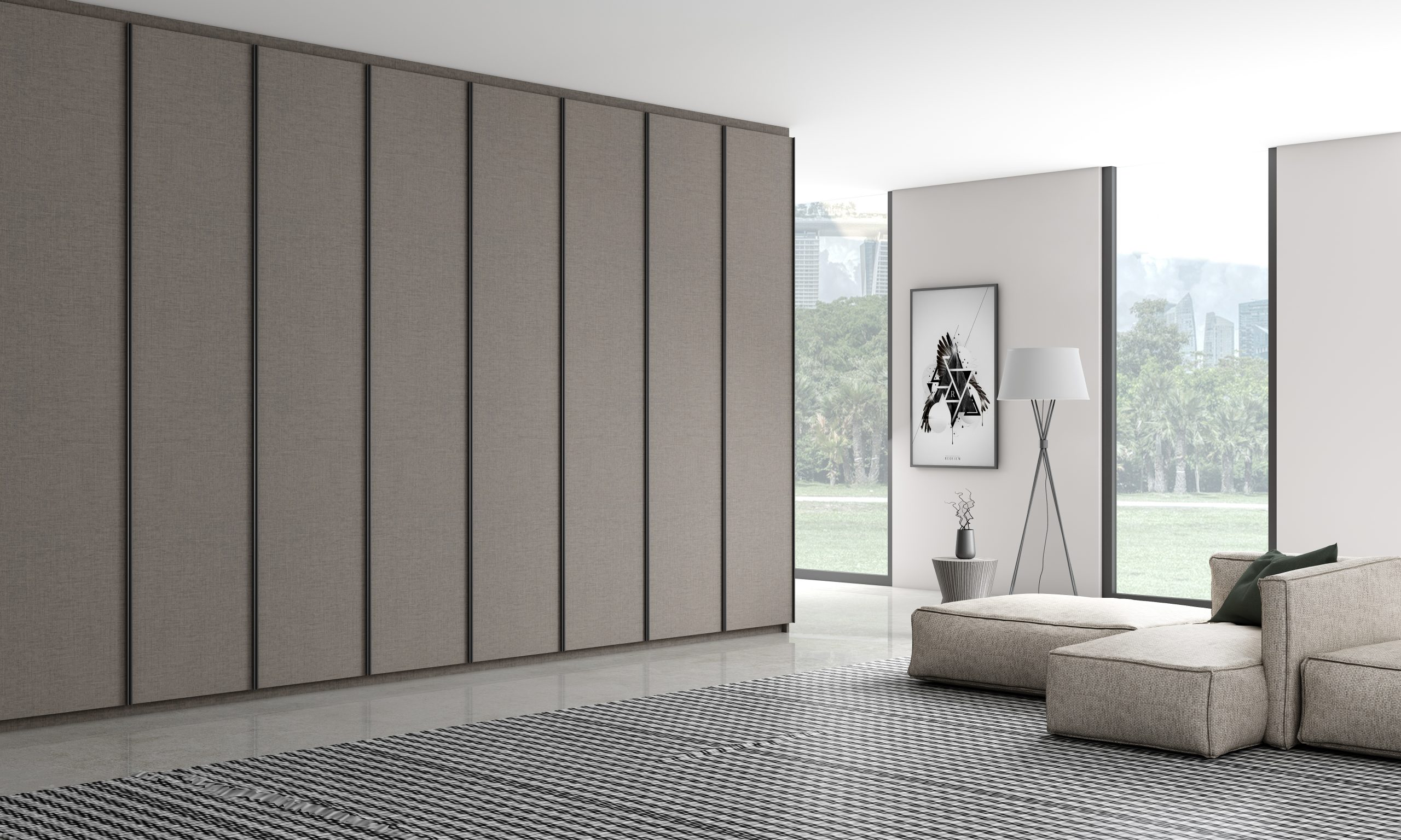 Linear wood fitted hinged wardrobe with aluminium handle profile in anthracite linen finish