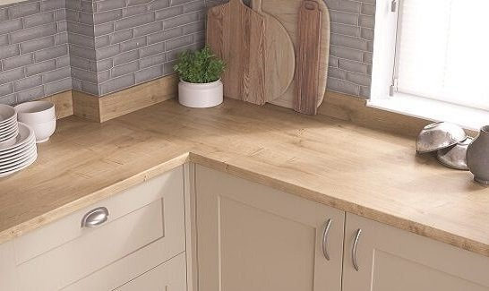 Fitted Wooden Kitchen With Laminate Wooden Oak Finish Worktop
