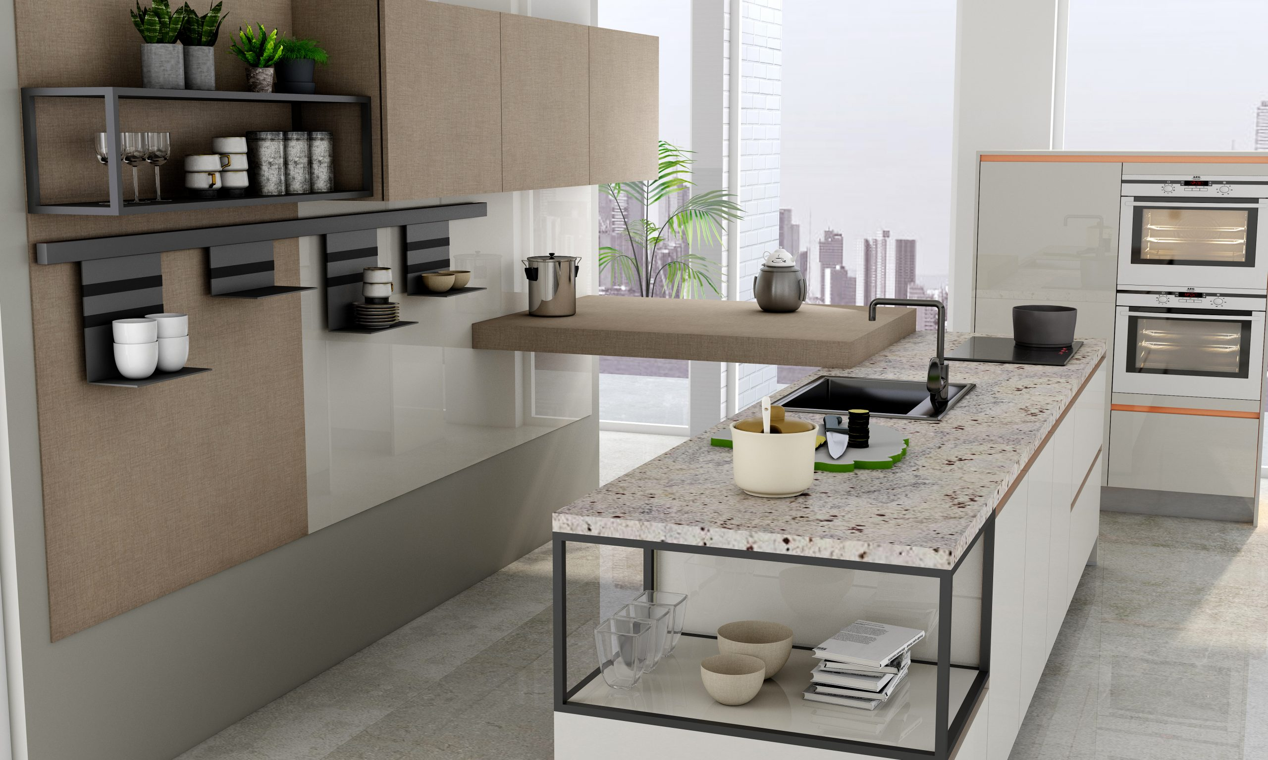 Premiumline Kitchen Worktop With Brass Handleless Profile in Textured Penelope and Light Grey Acrylic Finish