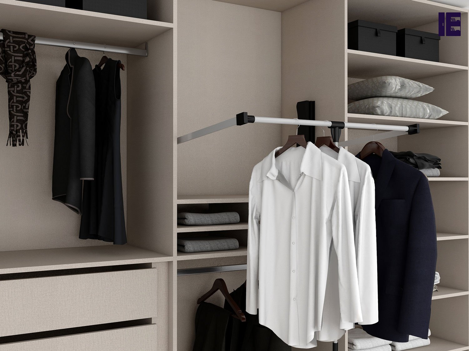 Pullout Hanging Rail Wardrobe Accessories