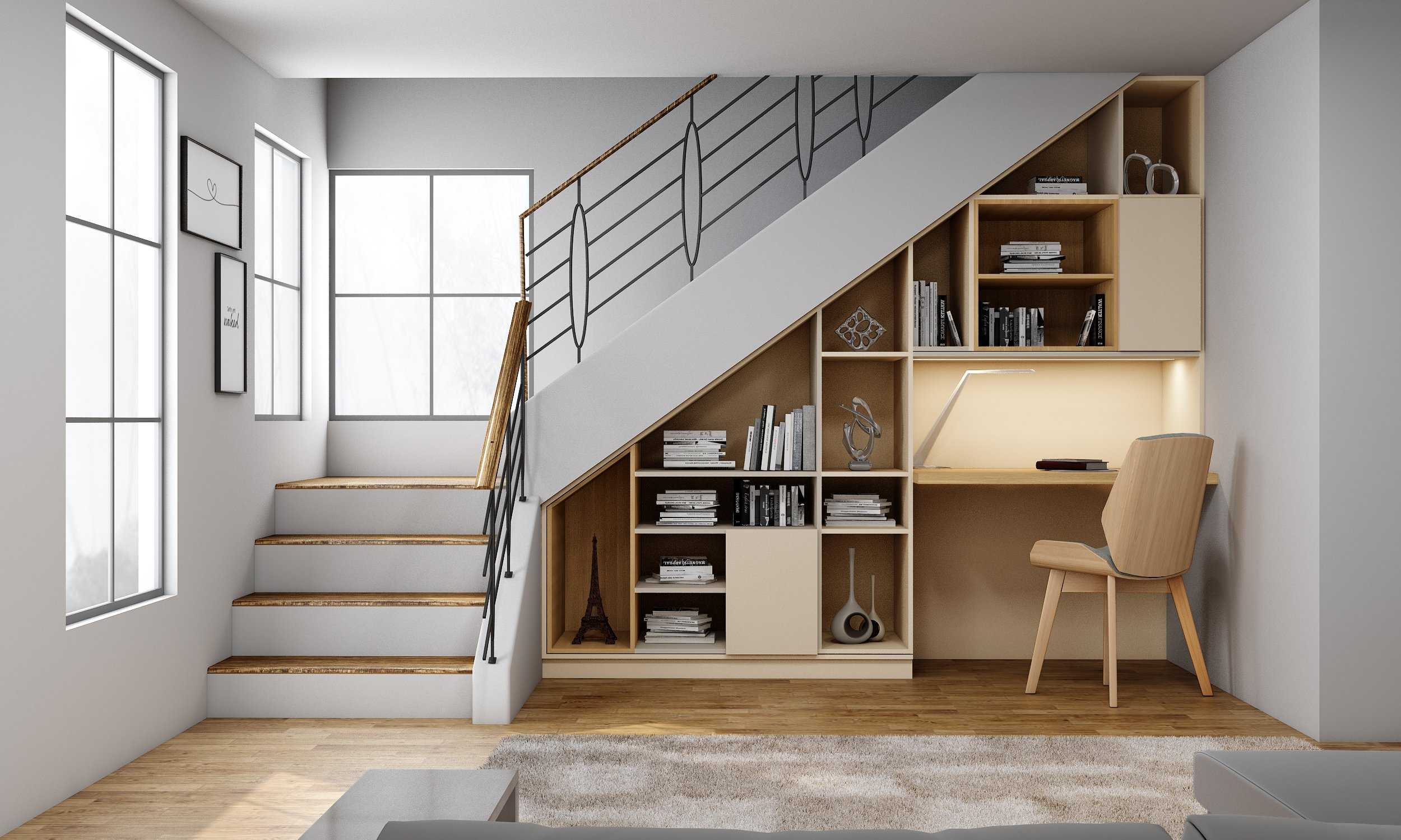 Awkward Space Solution Under stairs study in cashmere matt and sable woodgrain finish