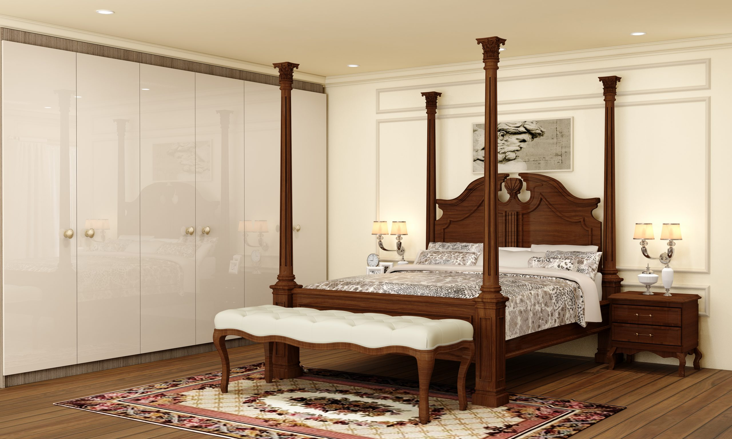 Traditional bedroom wardrobe storage in acrylic cashmere grey gloss finish