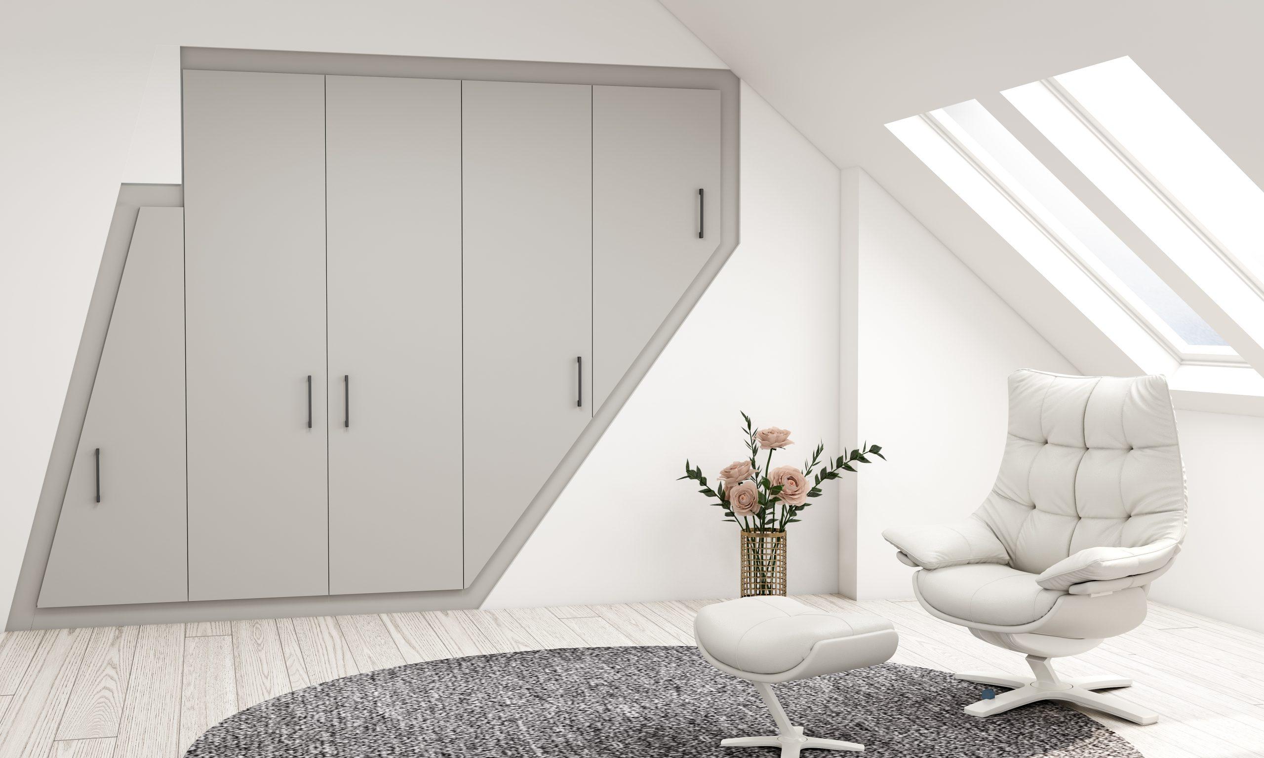 Bespoke loft attic wardrobe storage in light grey pearl finish