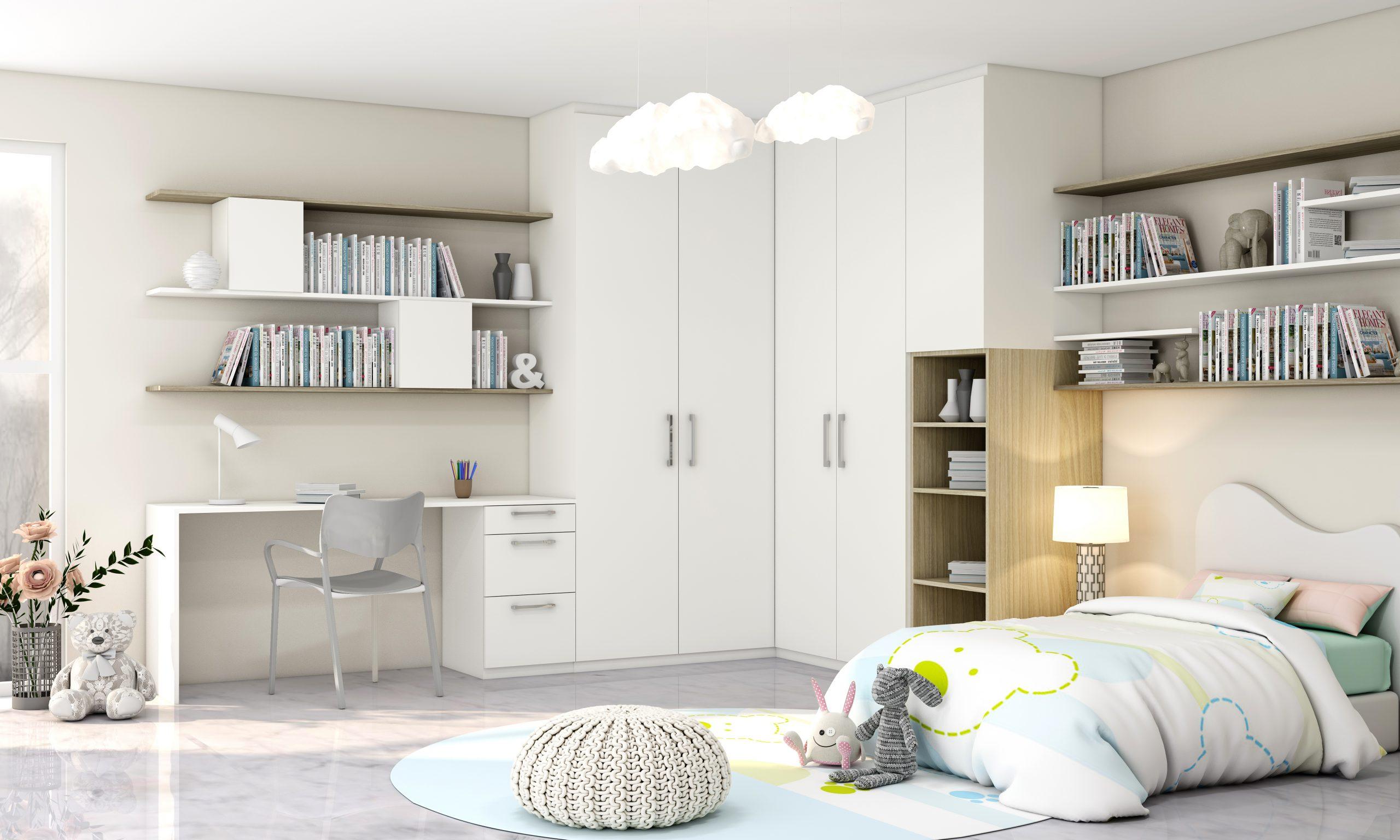 Children Bedroom Hinged Corner Wardrobe With Study in White Matt and Woodgrain Finish