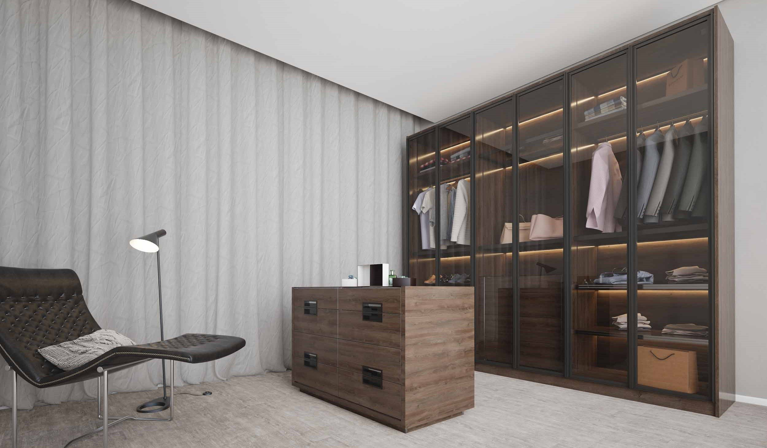 Linear Glass Fitted Wardrobe With Chest of Drawers With Woodgrain Finish