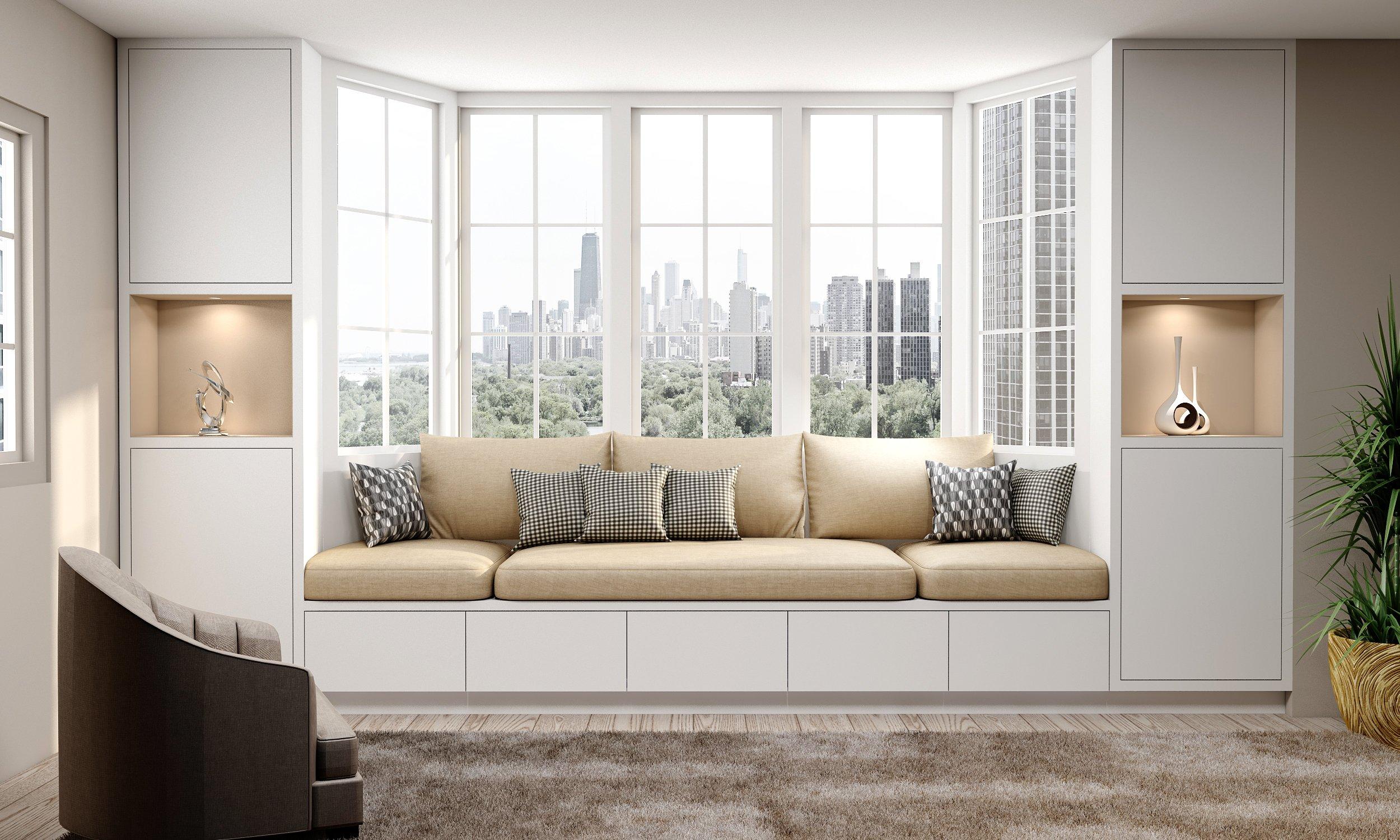 Bay Window sitting cabinets Glacier-White & Cashmere_grey _cushion_36mm frame-1 (1)
