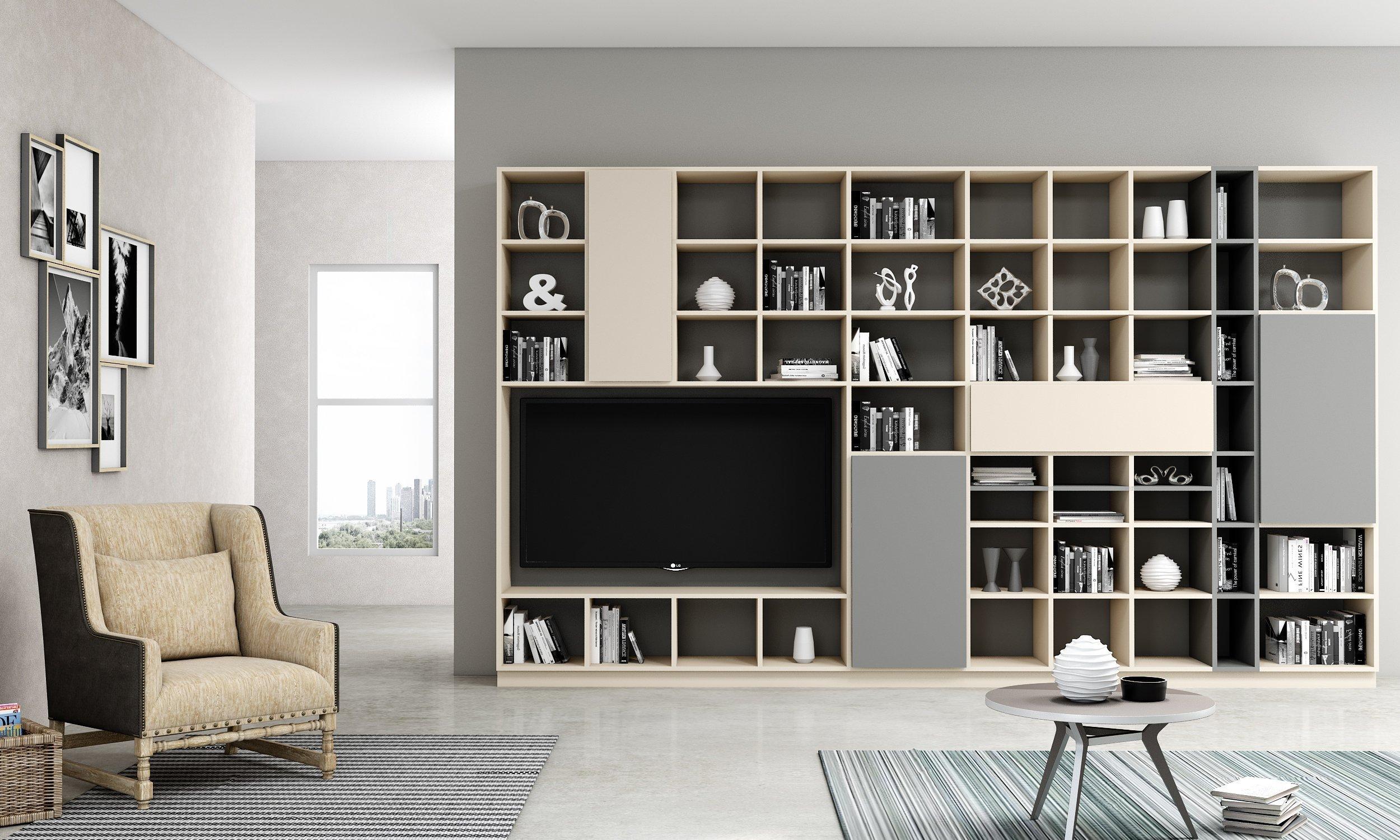 Bespoke TV storage with Book shelf in cashmere light finish (1)